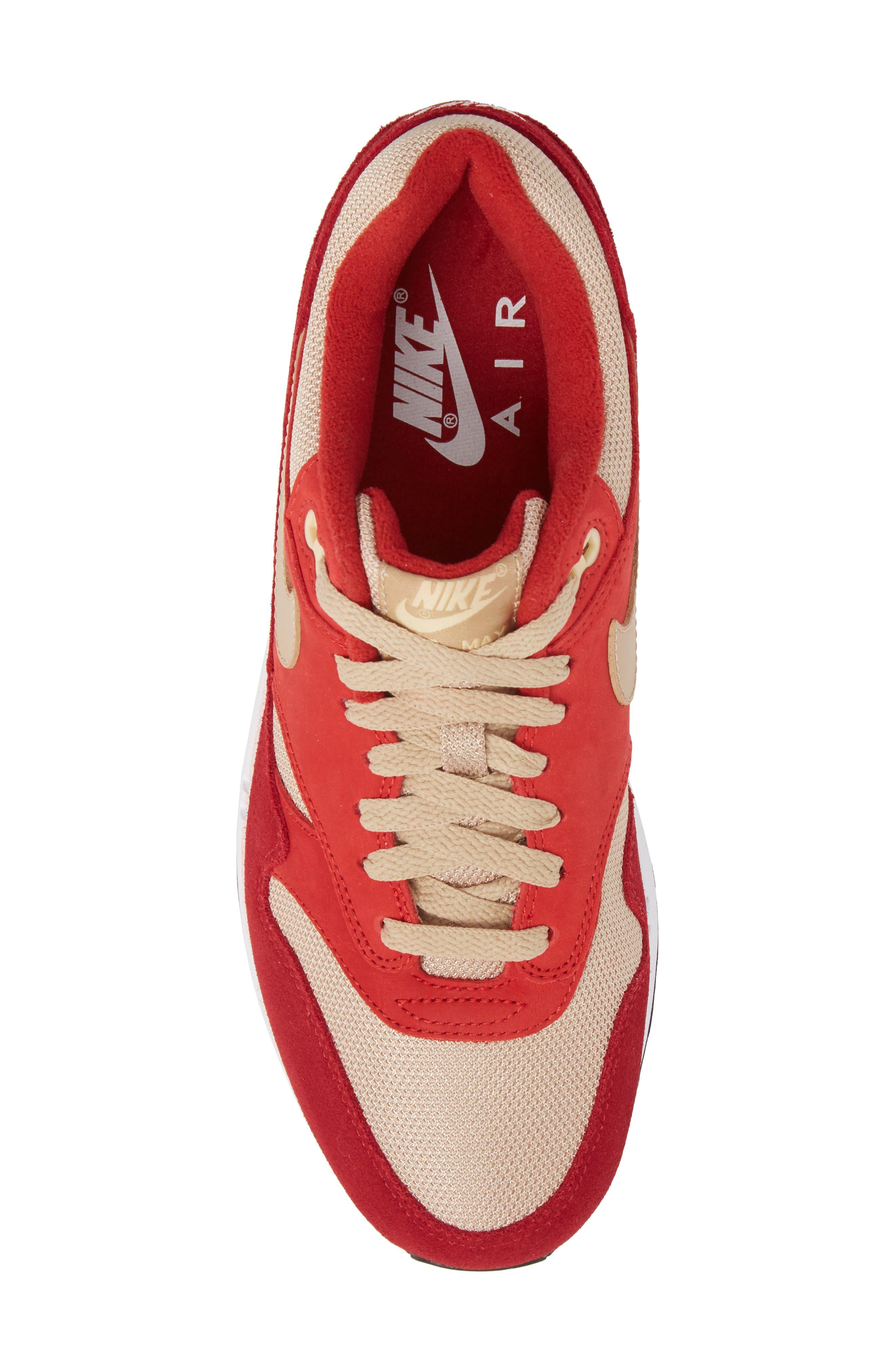 Air Max 1 Premium Retro Sneaker,                             Alternate thumbnail 5, color,                             Red/ Mushroom-Red-Vanilla