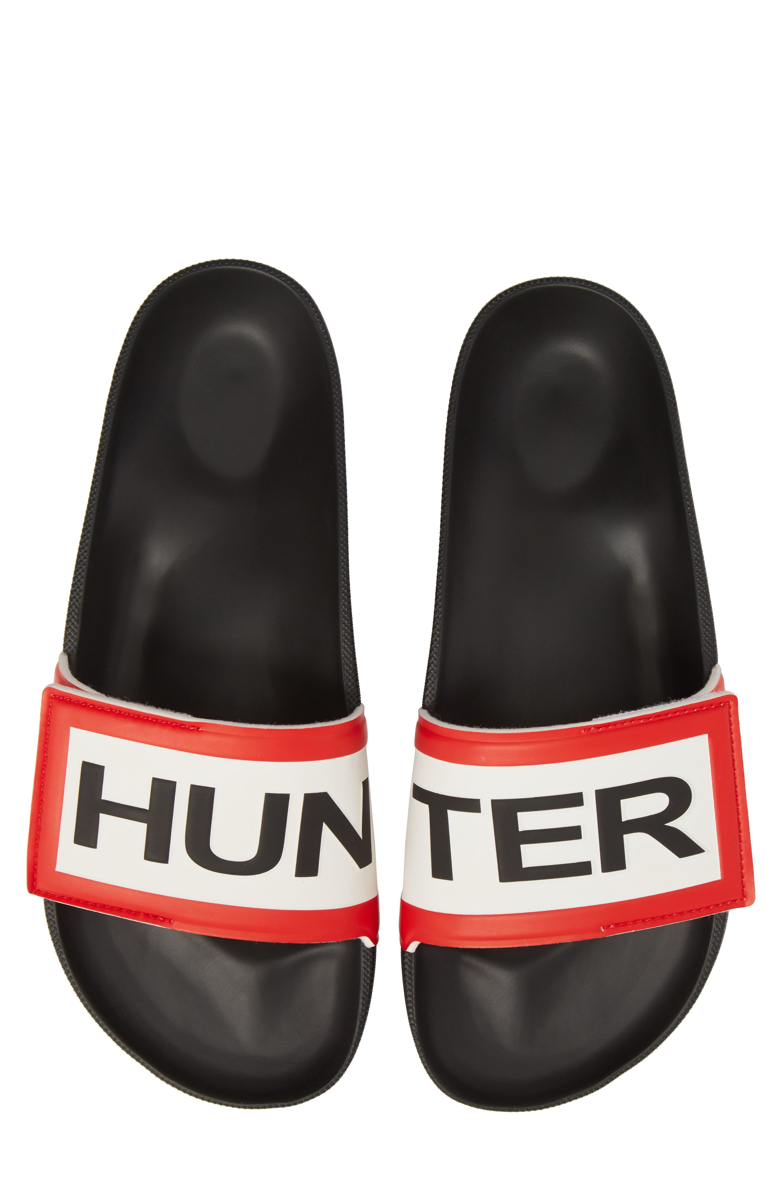 Original Adjustable Logo Slide Sandal,                             Main thumbnail 1, color,                             Black