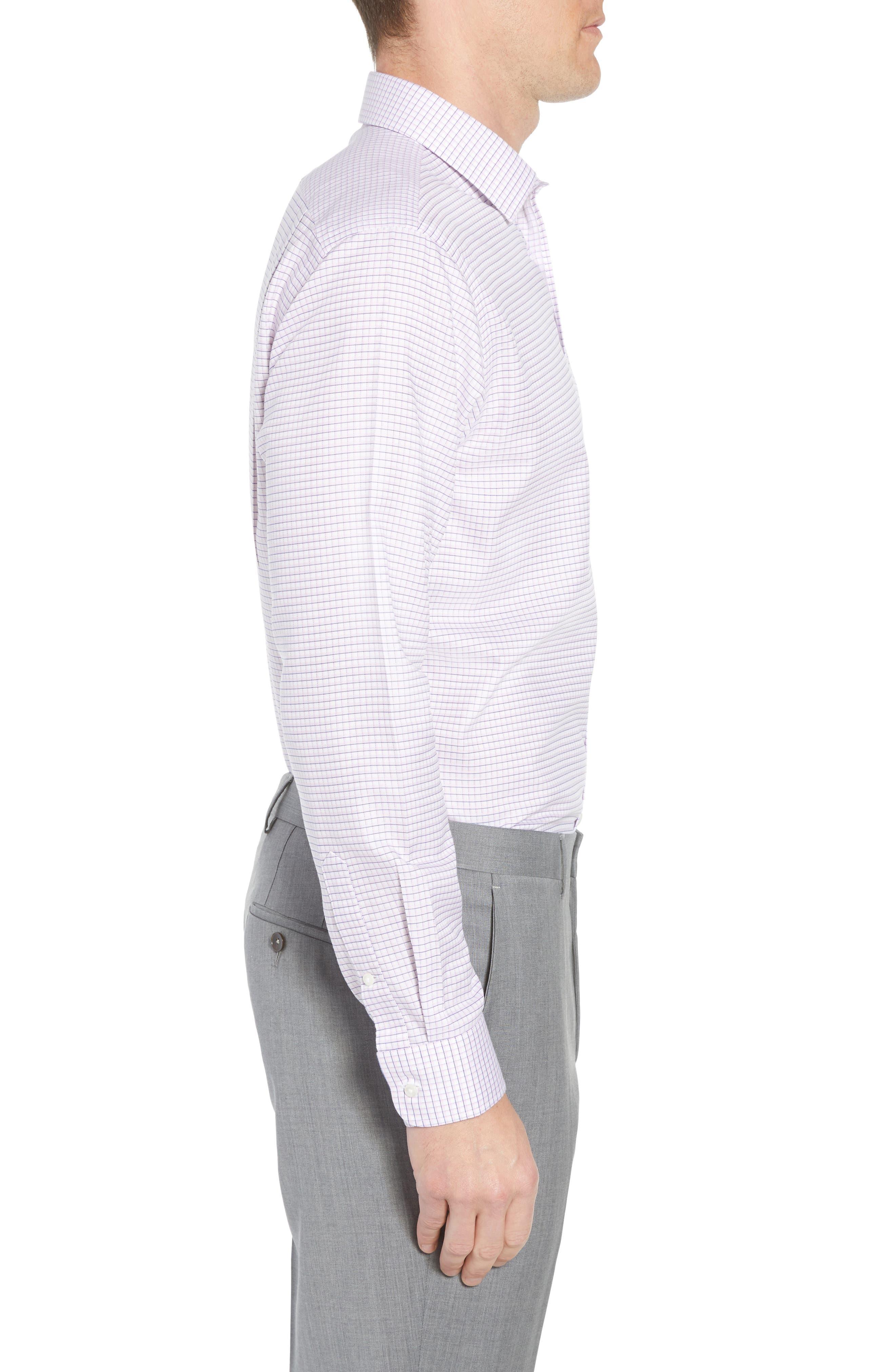 Smartcare<sup>™</sup> Trim Fit Check Sport Shirt,                             Alternate thumbnail 4, color,                             Pink Sweet