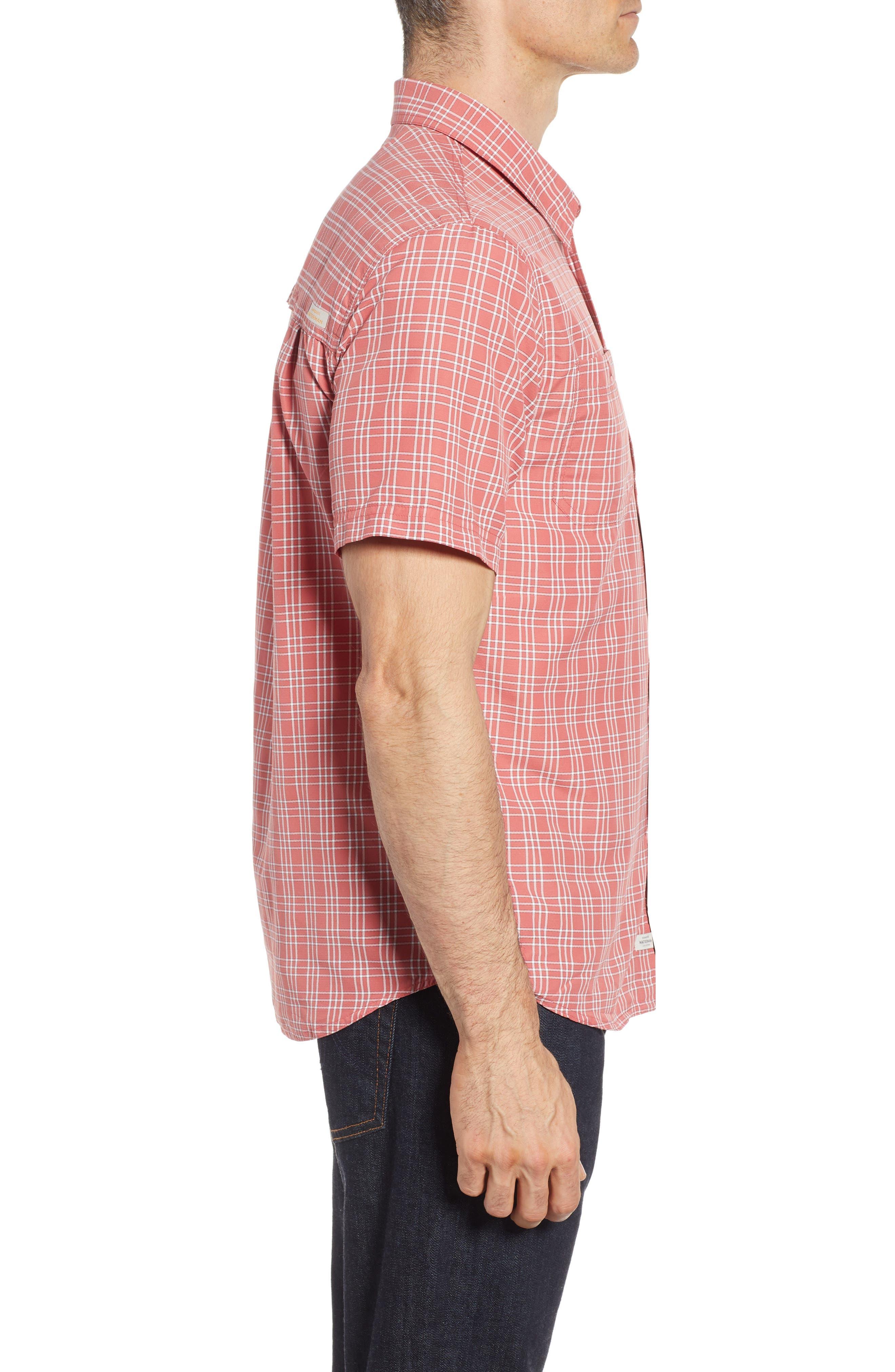 Wake Plaid Regular Fit Performance Sport Shirt,                             Alternate thumbnail 3, color,                             Mineral Red