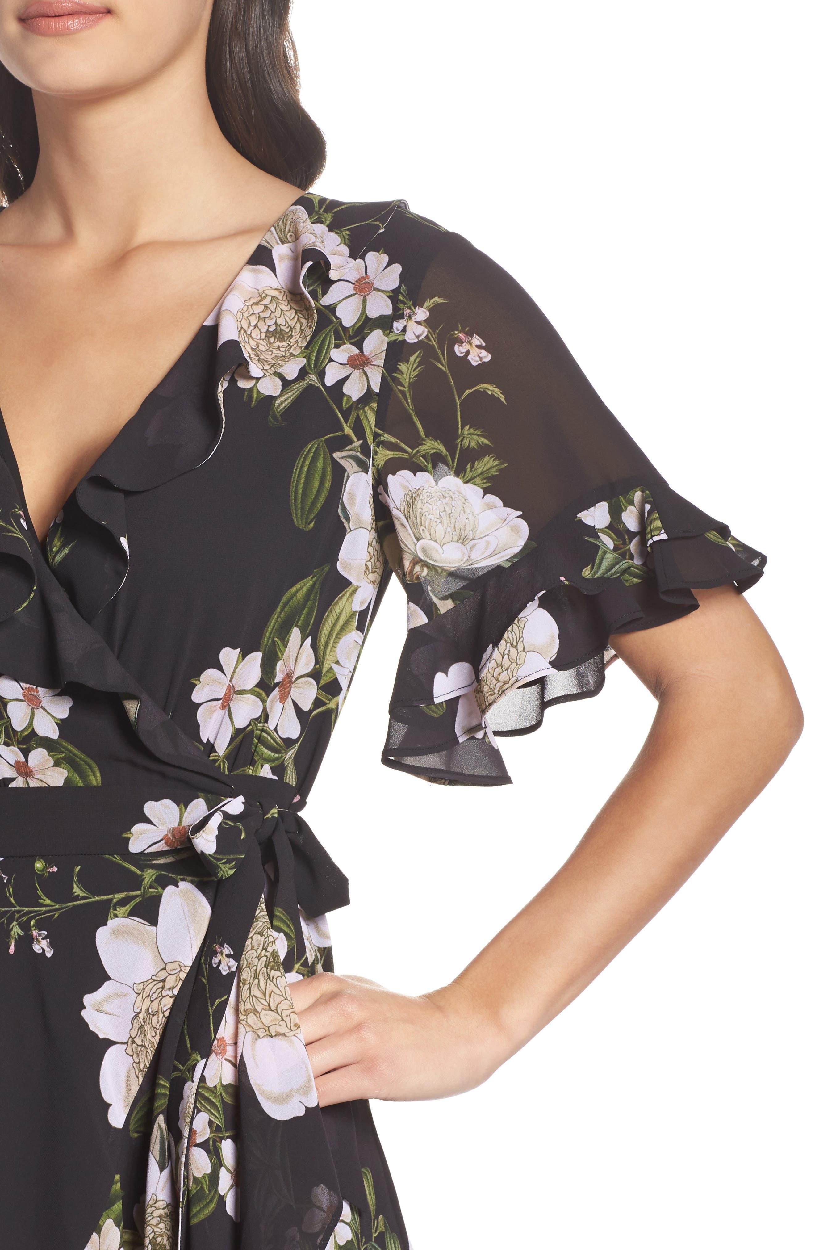 Floral Print Wrap Dress,                             Alternate thumbnail 4, color,                             Dark Floral Print