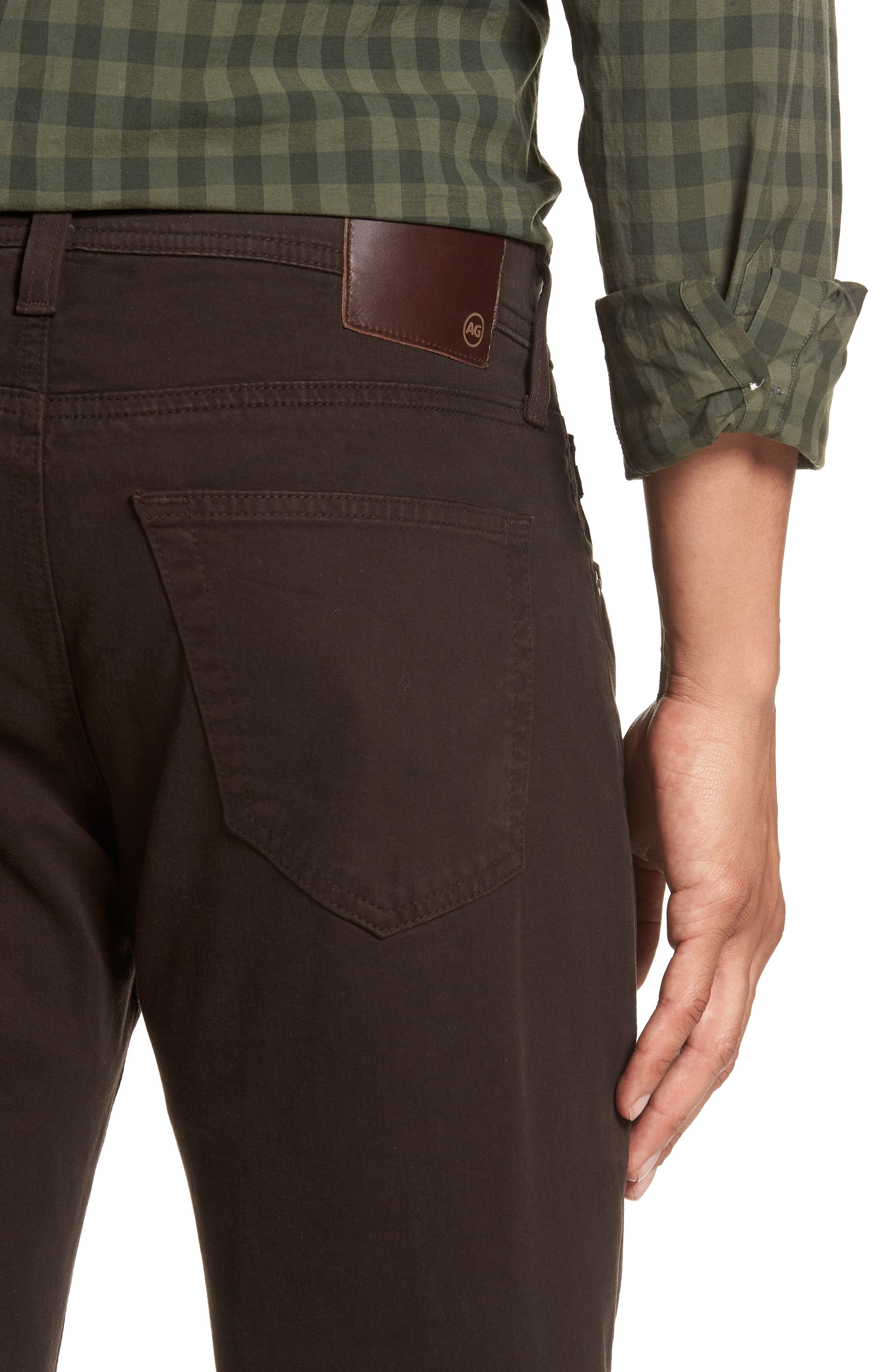 Tellis SUD Modern Slim Stretch Twill Pants,                             Alternate thumbnail 4, color,                             Shutter Brown