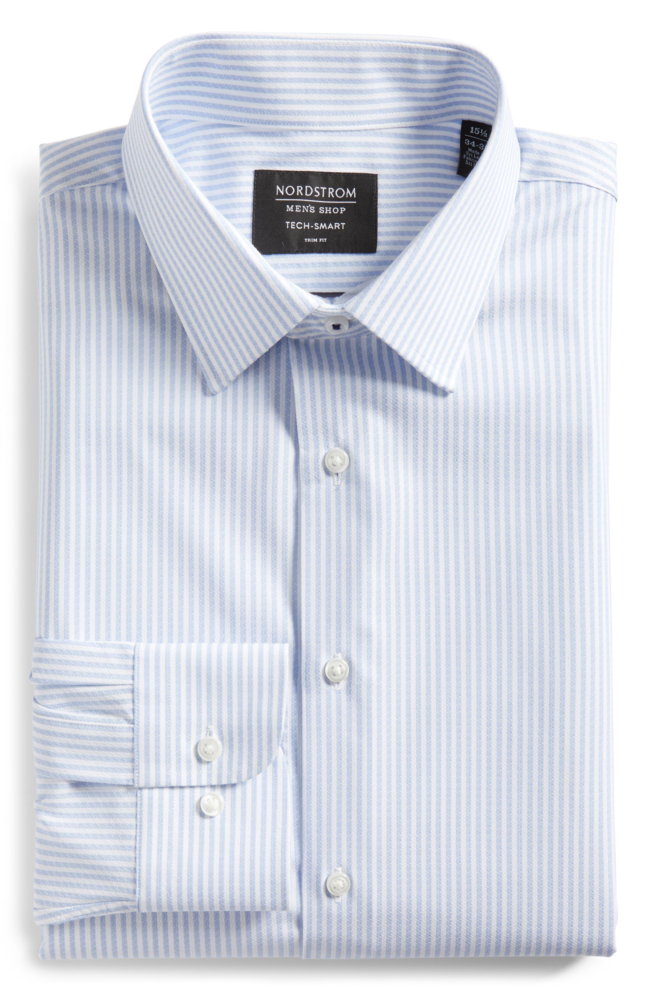 Tech-Smart Trim Fit Stripe Stretch Dress Shirt,                             Alternate thumbnail 6, color,                             Blue Brunnera