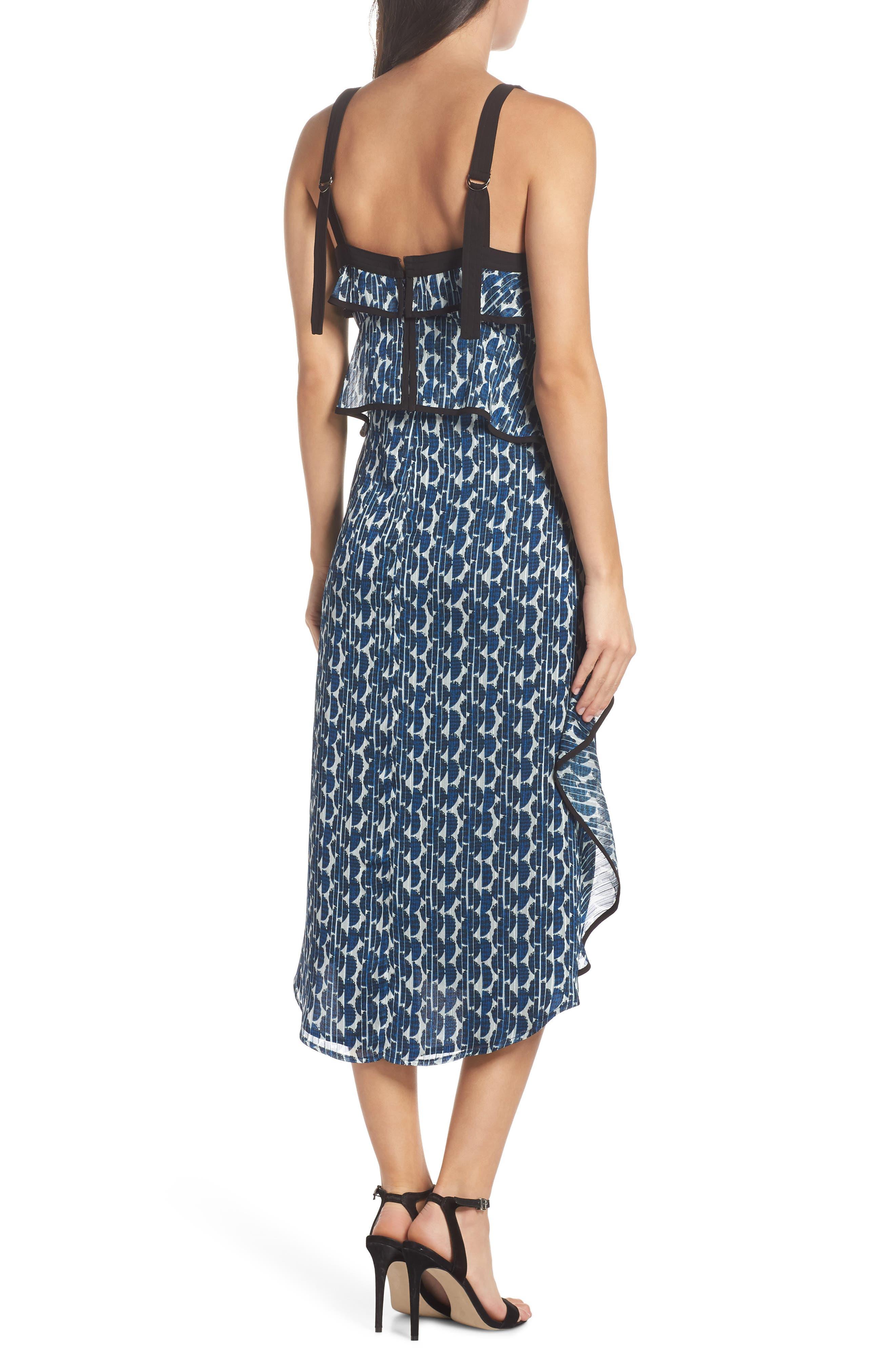 Print Frill Midi Dress,                             Alternate thumbnail 2, color,                             Blue/ Black