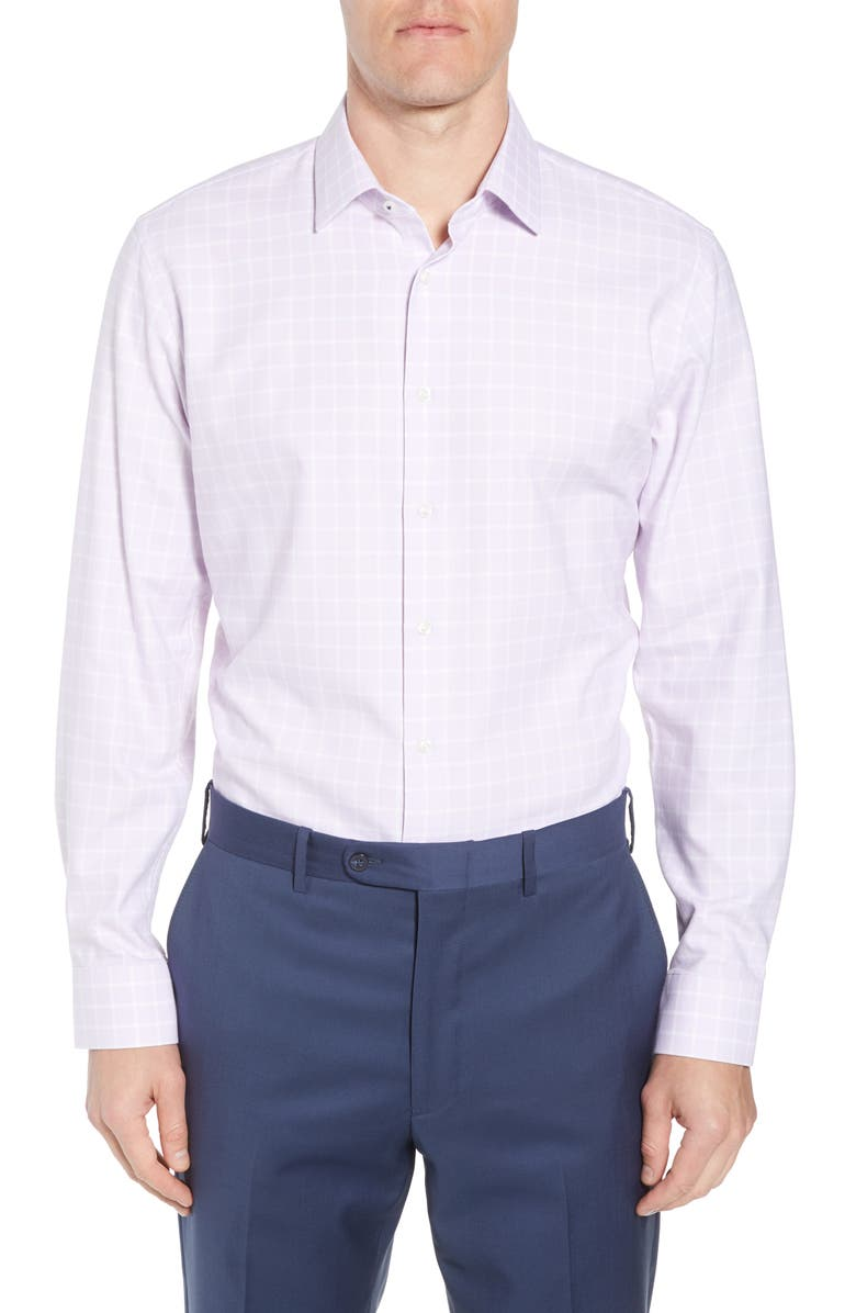 Tech-Smart Trim Fit Stretch Windowpane Dress Shirt