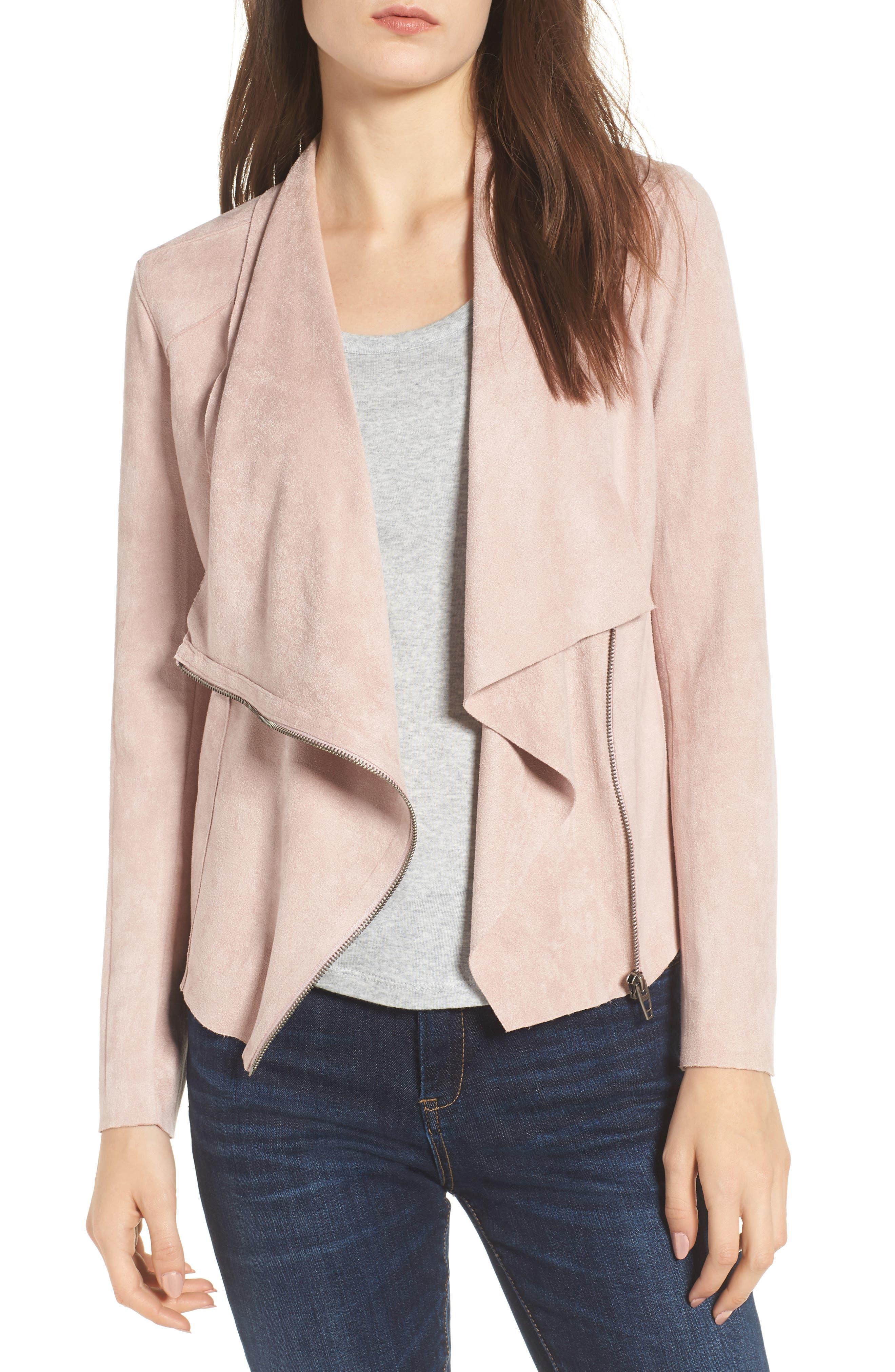 Drape Front Faux Suede Jacket,                             Main thumbnail 1, color,                             Pink Adobe