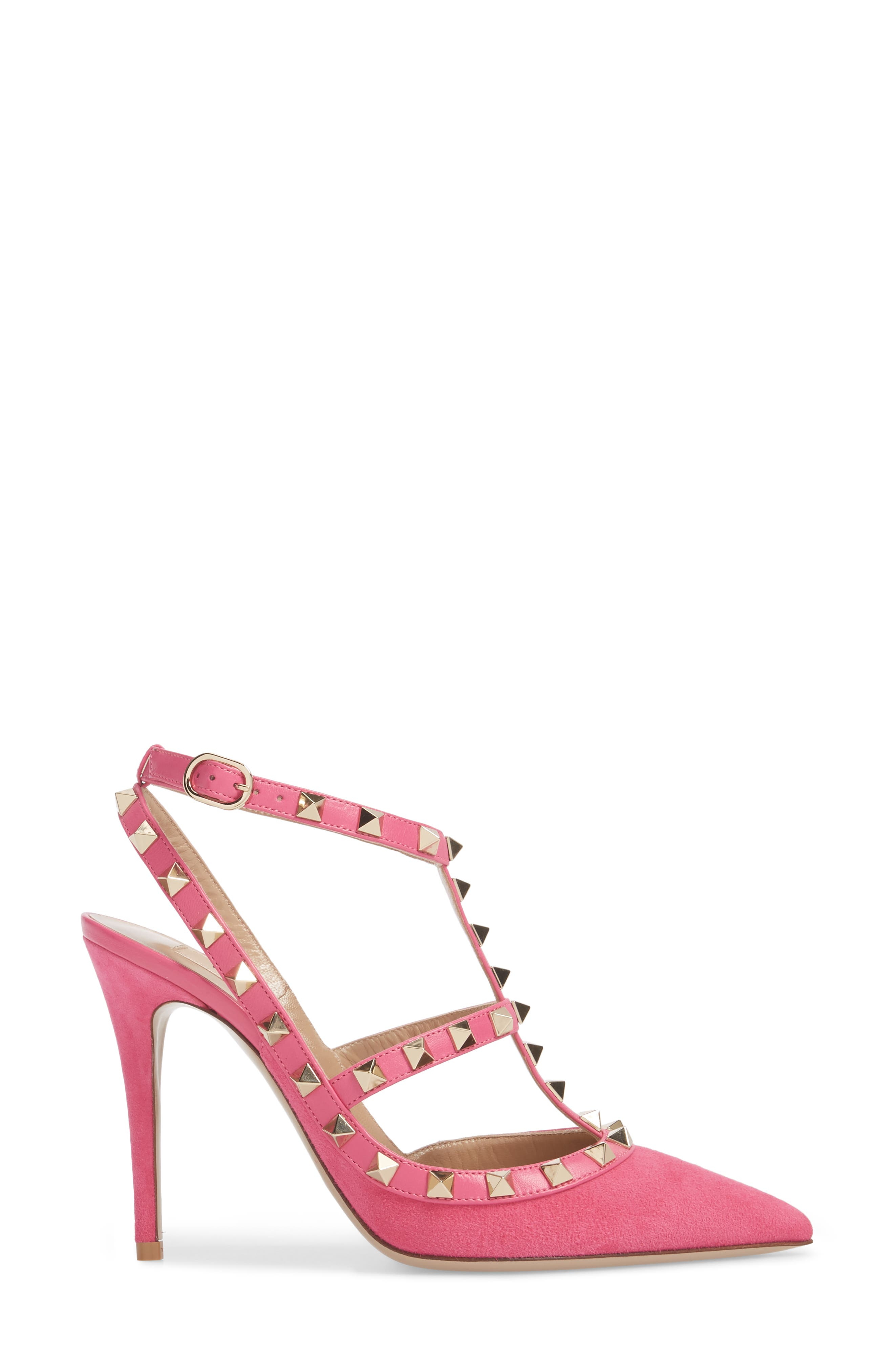 Rockstud T-Strap Pump,                             Alternate thumbnail 3, color,                             Pink/ Pink