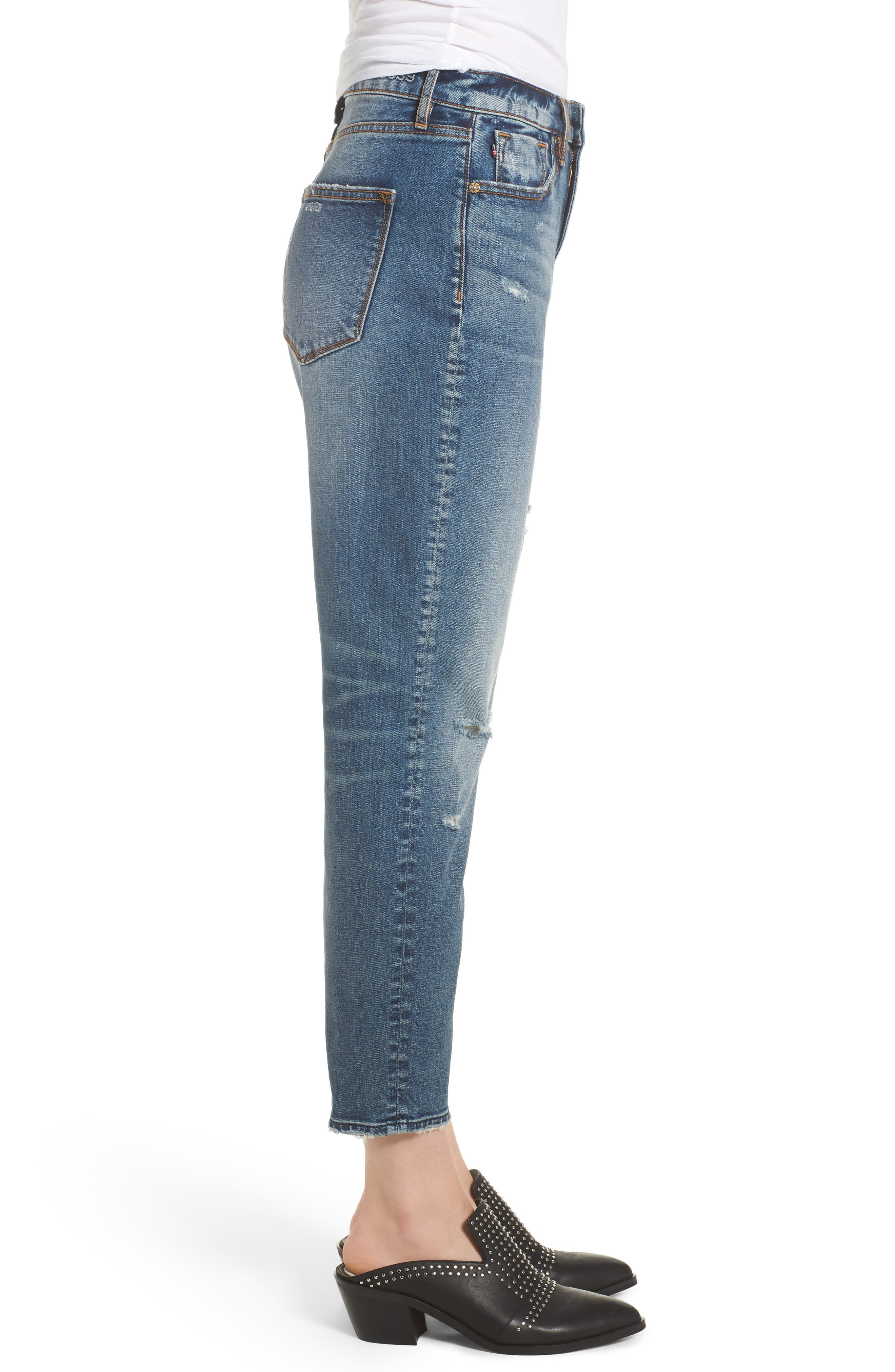 Friday Distressed Tapered Boyfriend Jeans,                             Alternate thumbnail 6, color,                             Medium Wash
