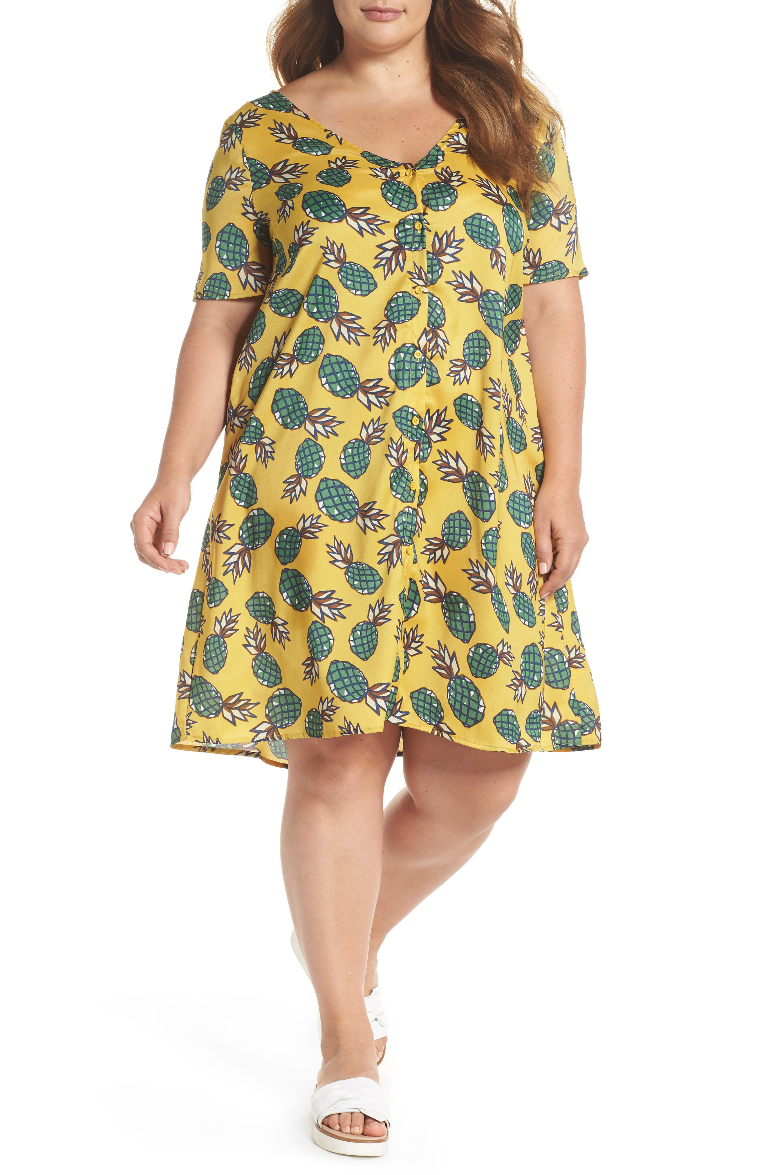 BUTTON FRONT PINEAPPLE PRINT DRESS