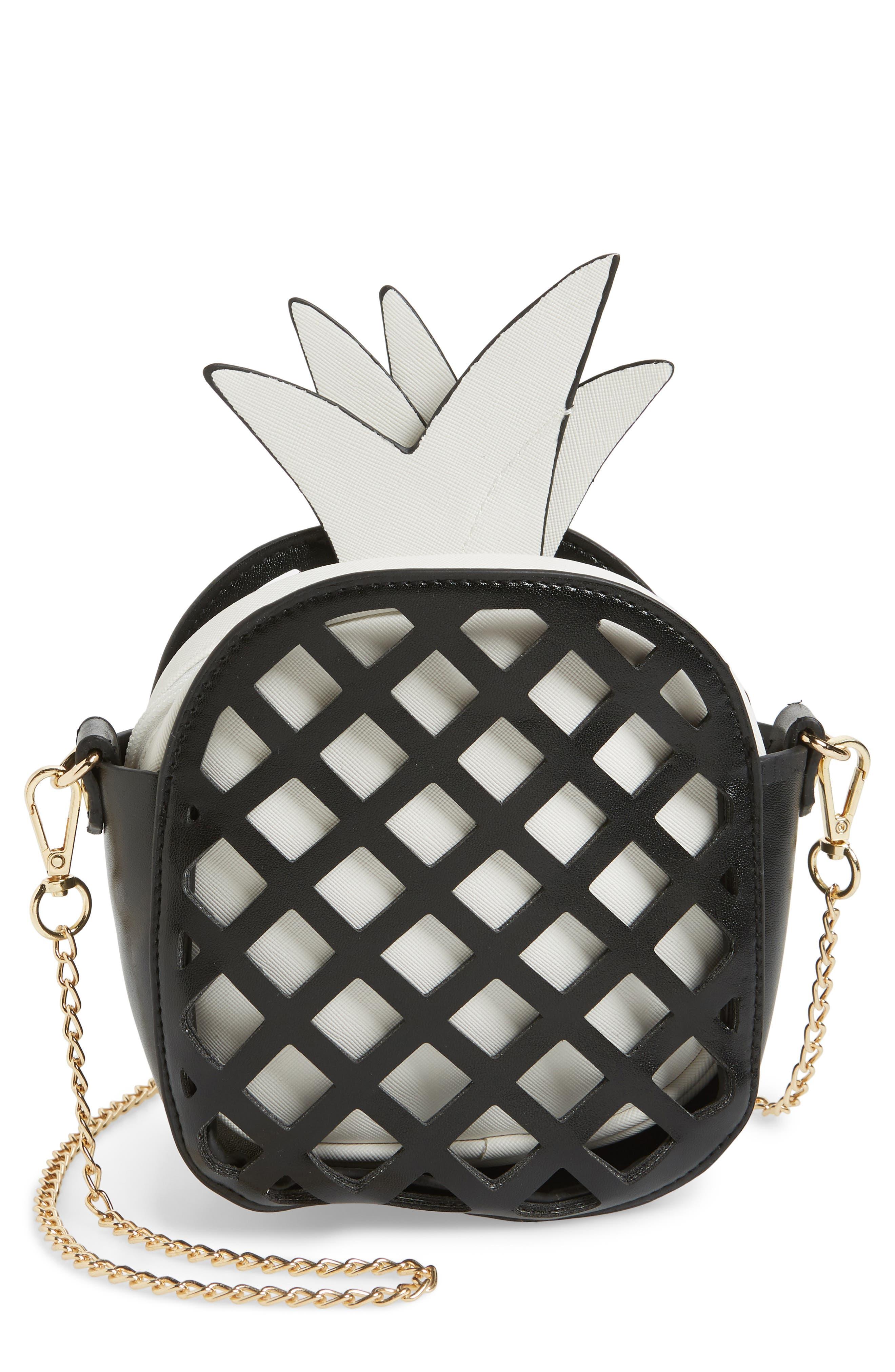 Cutout Pineapple Crossbody Bag,                             Main thumbnail 1, color,                             Black Combo