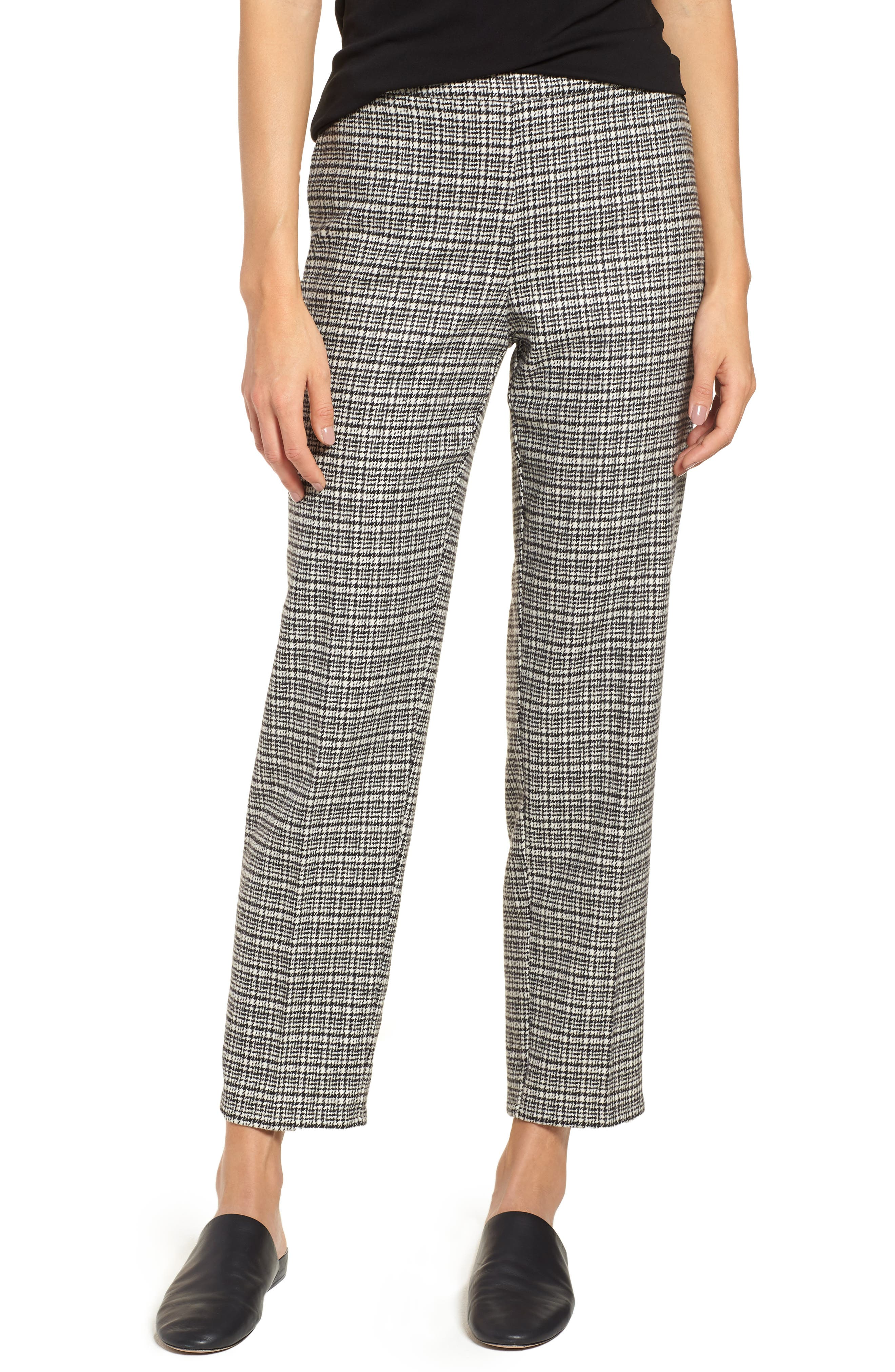 Slim Ankle Pants,                         Main,                         color, Black/ White
