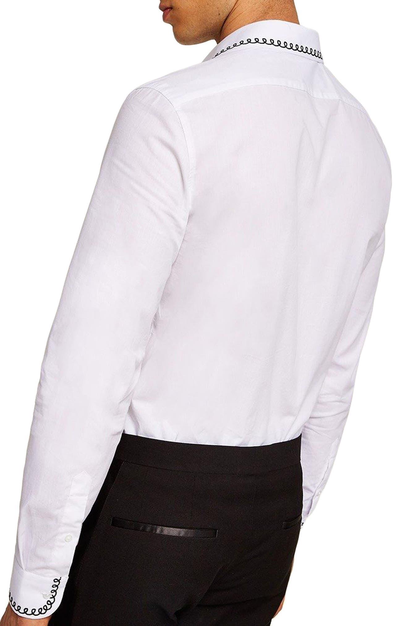 Phone Cable Dress Shirt,                             Alternate thumbnail 3, color,                             White Multi