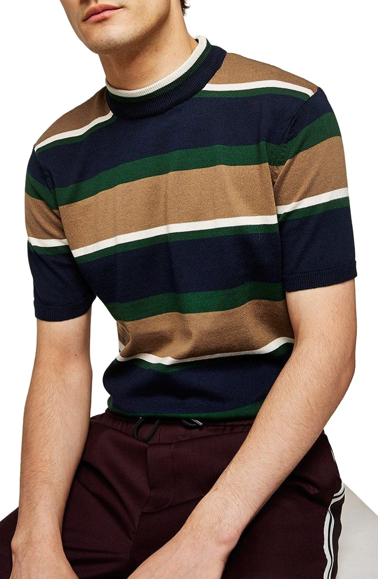 Topman Stripe Mock Neck Knit T-Shirt