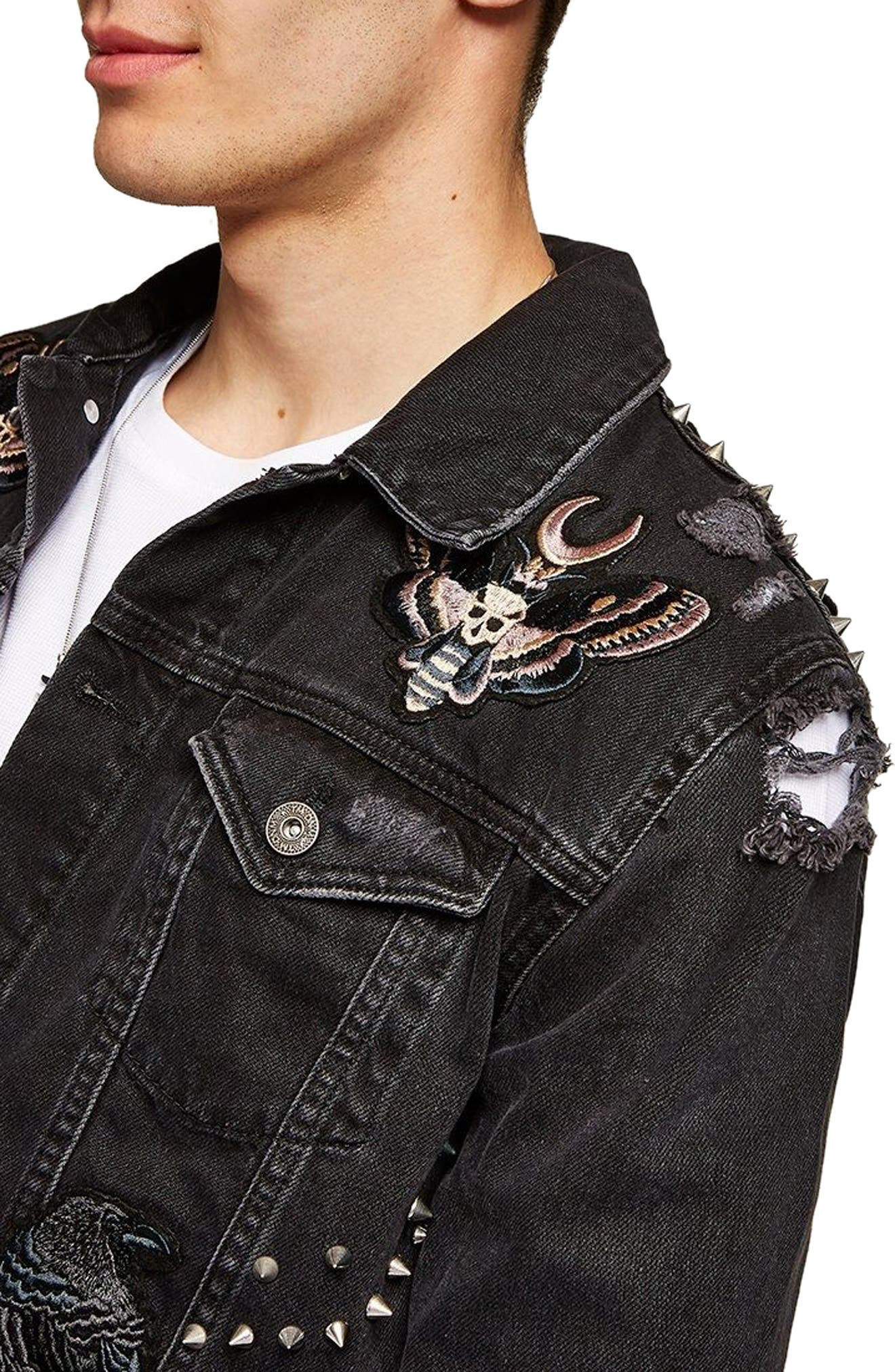 Sleepy Hollow Slim Fit Denim Jacket with Patches,                             Alternate thumbnail 3, color,                             Black Multi