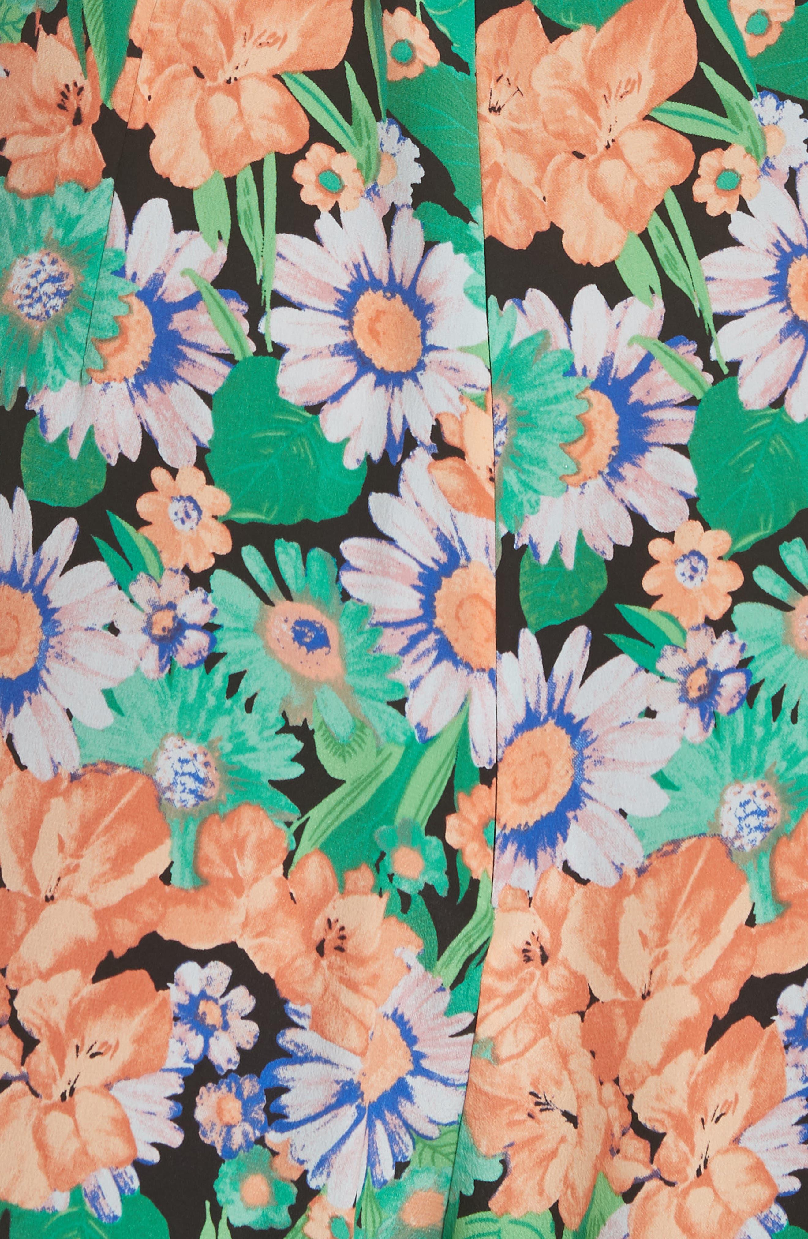 Floral Flutter Trim Silk Romper,                             Alternate thumbnail 4, color,                             Vert