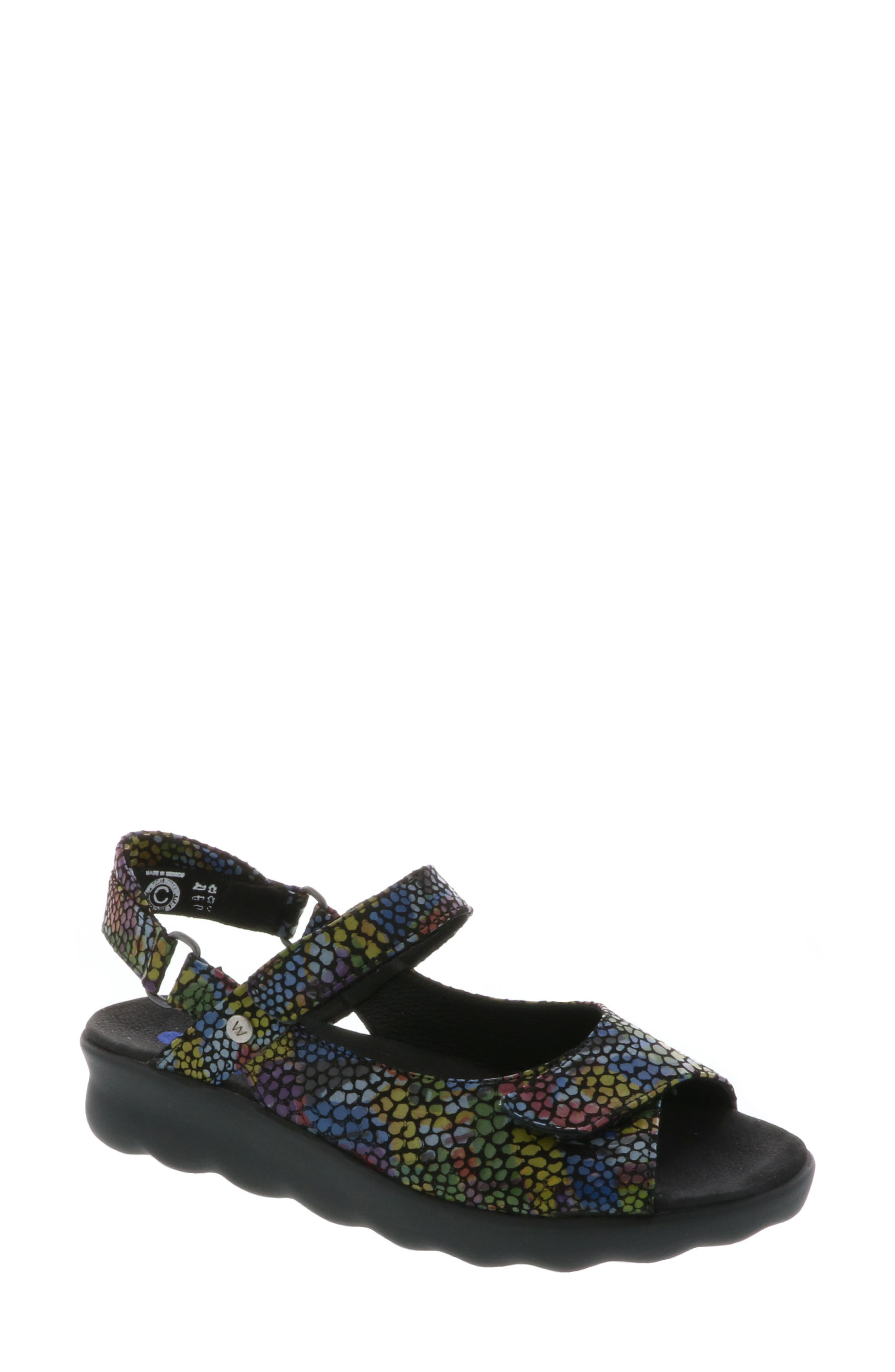 Pichu Quarter Strap Sandal,                             Main thumbnail 1, color,                             Black Multi Color Fantasy