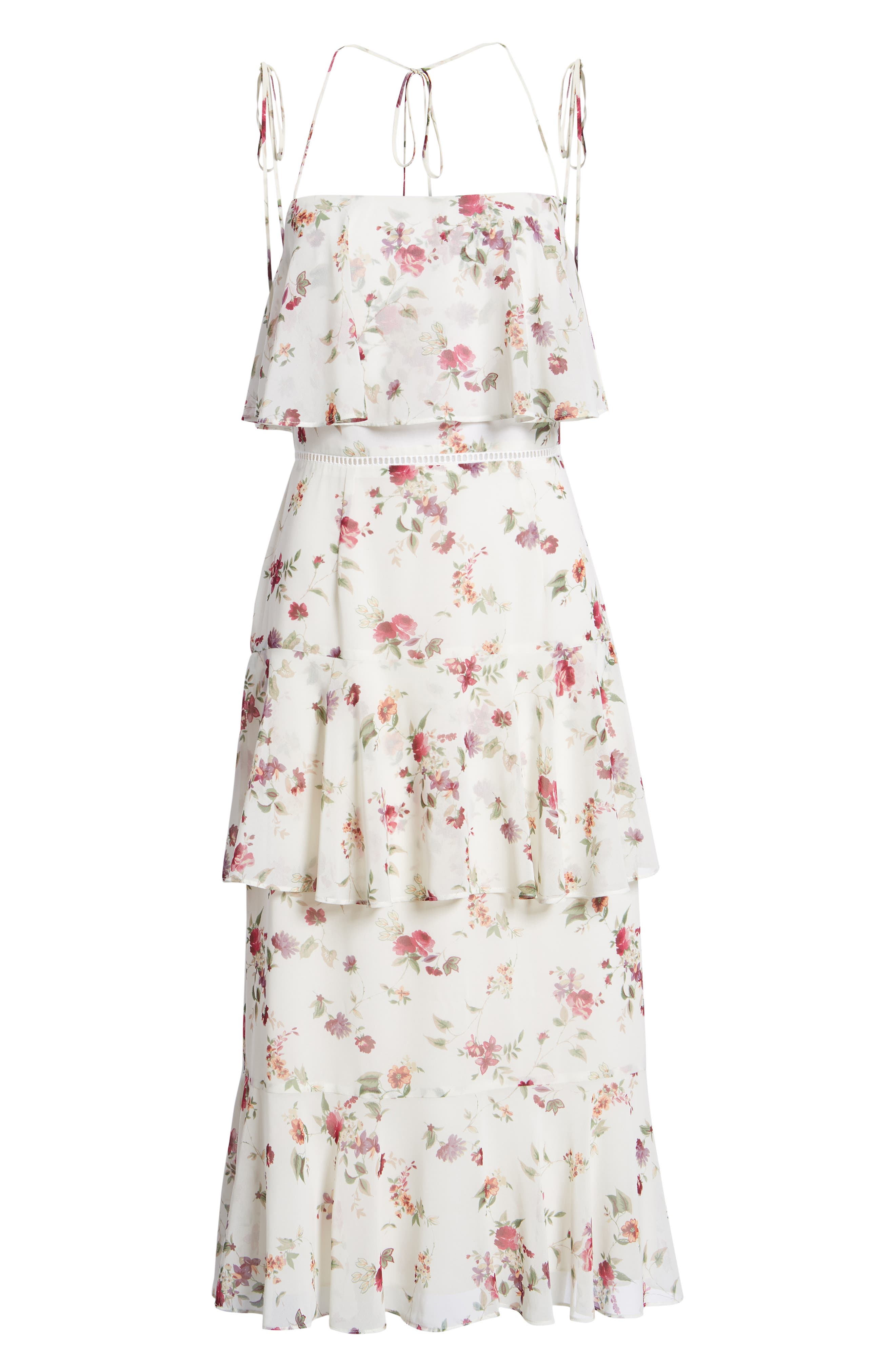 Imola Tiered Midi Dress,                             Alternate thumbnail 7, color,                             Ivory Floral