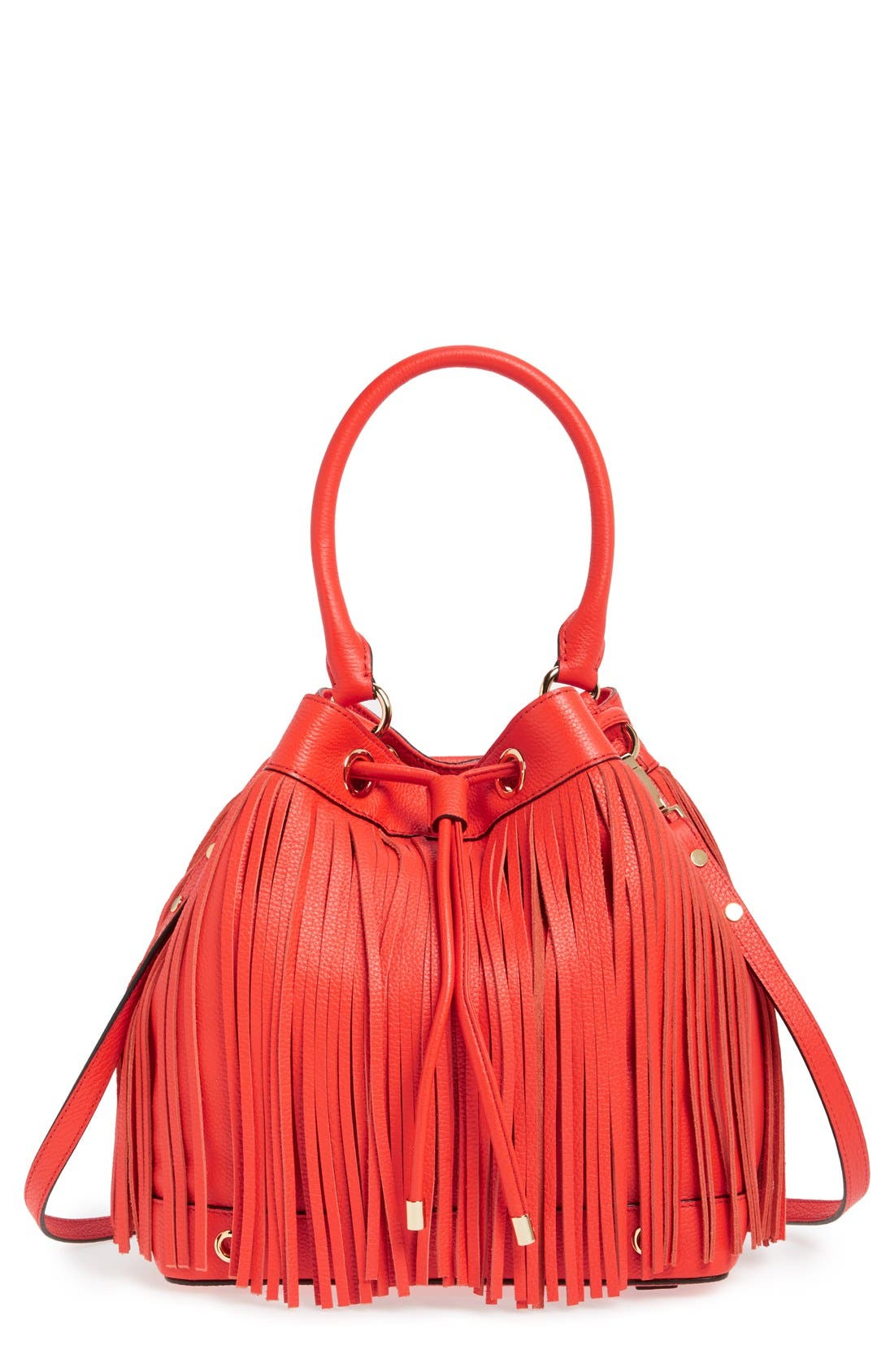 'Essex' Fringed Leather Bucket Bag,                             Main thumbnail 1, color,                             Vermilion Red