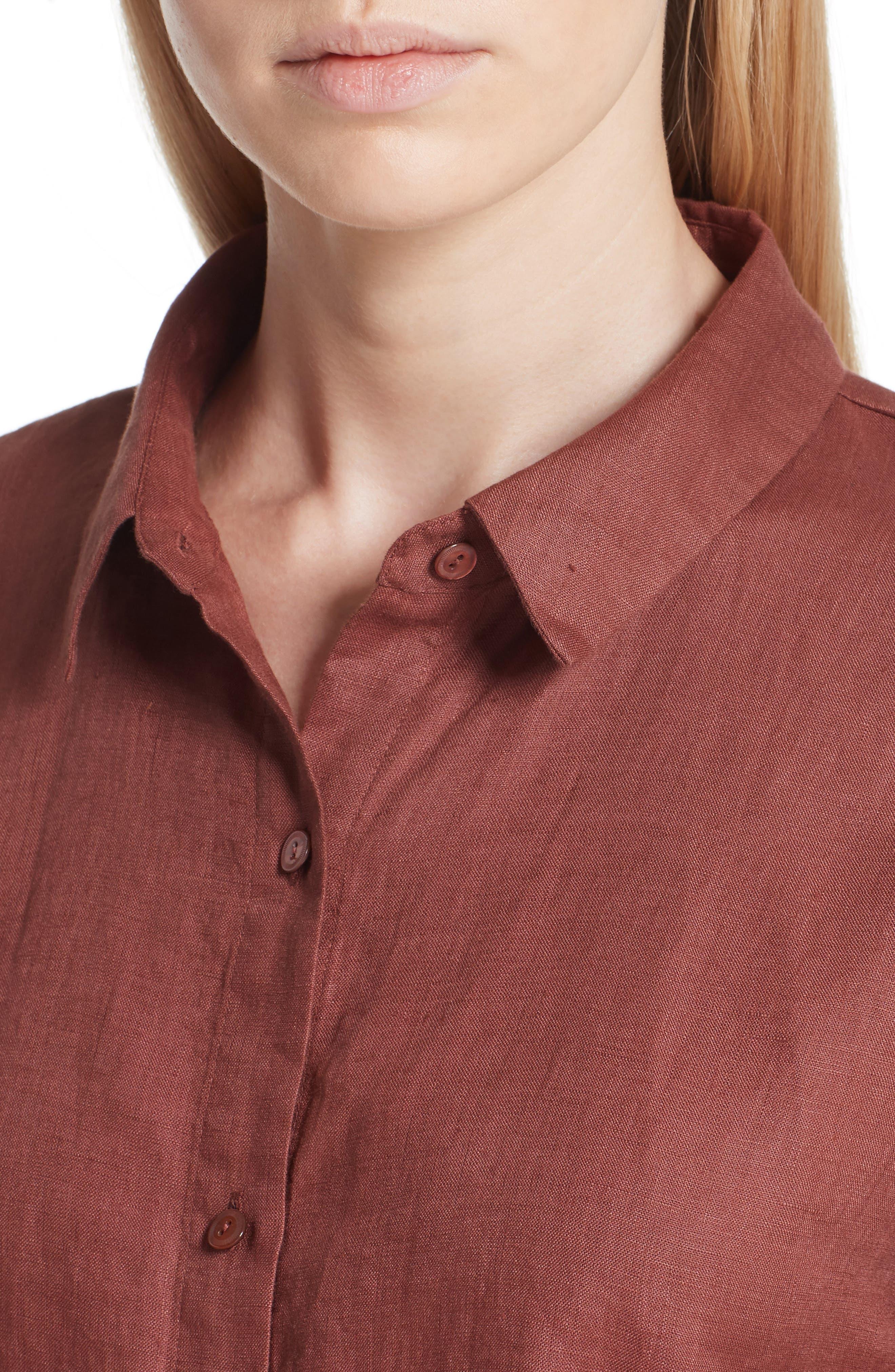 Classic Collar Linen Shirt,                             Alternate thumbnail 4, color,                             Russet