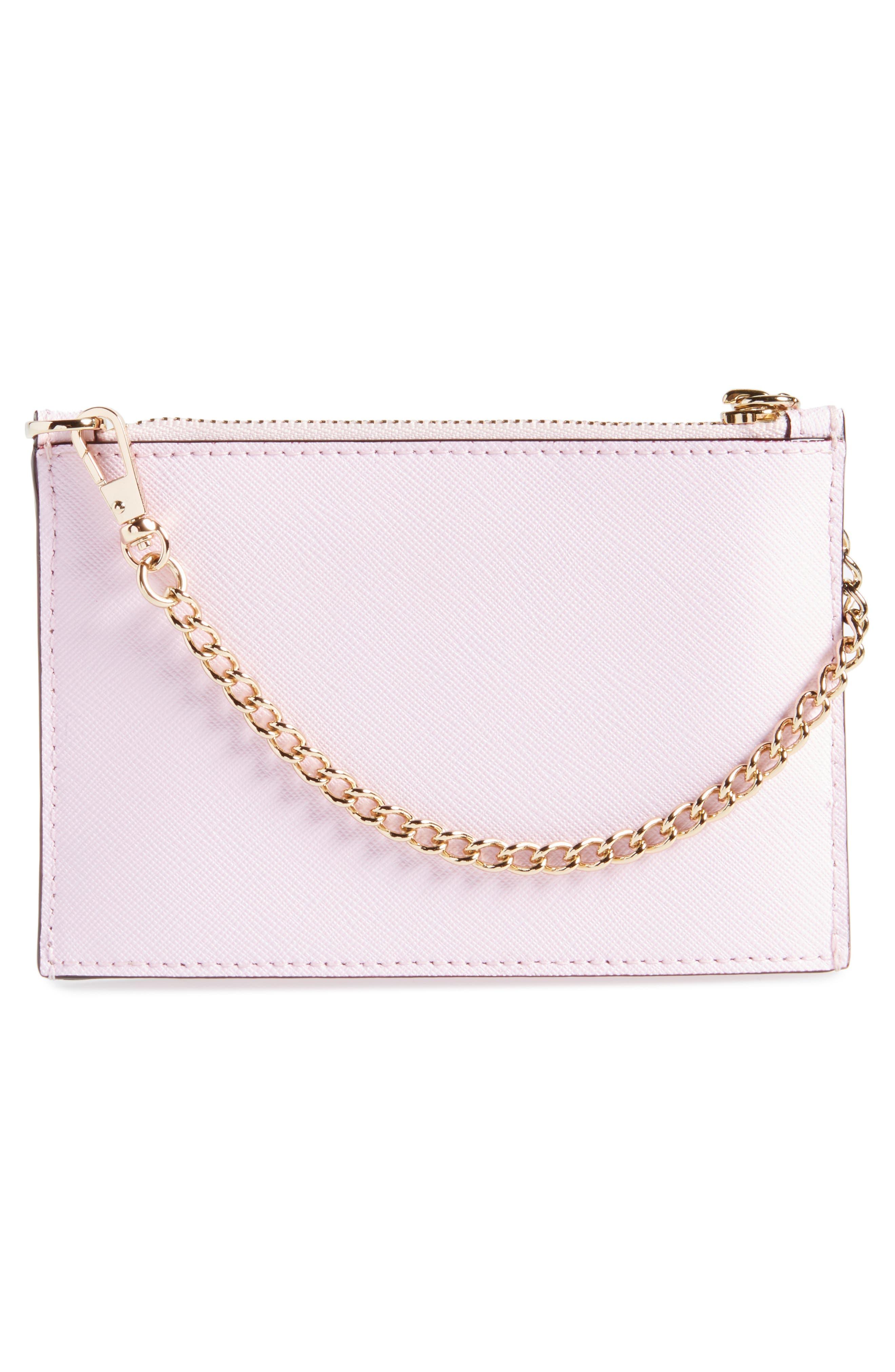 cameron street caroline leather zip pouch,                             Alternate thumbnail 3, color,                             Pink Lemonade
