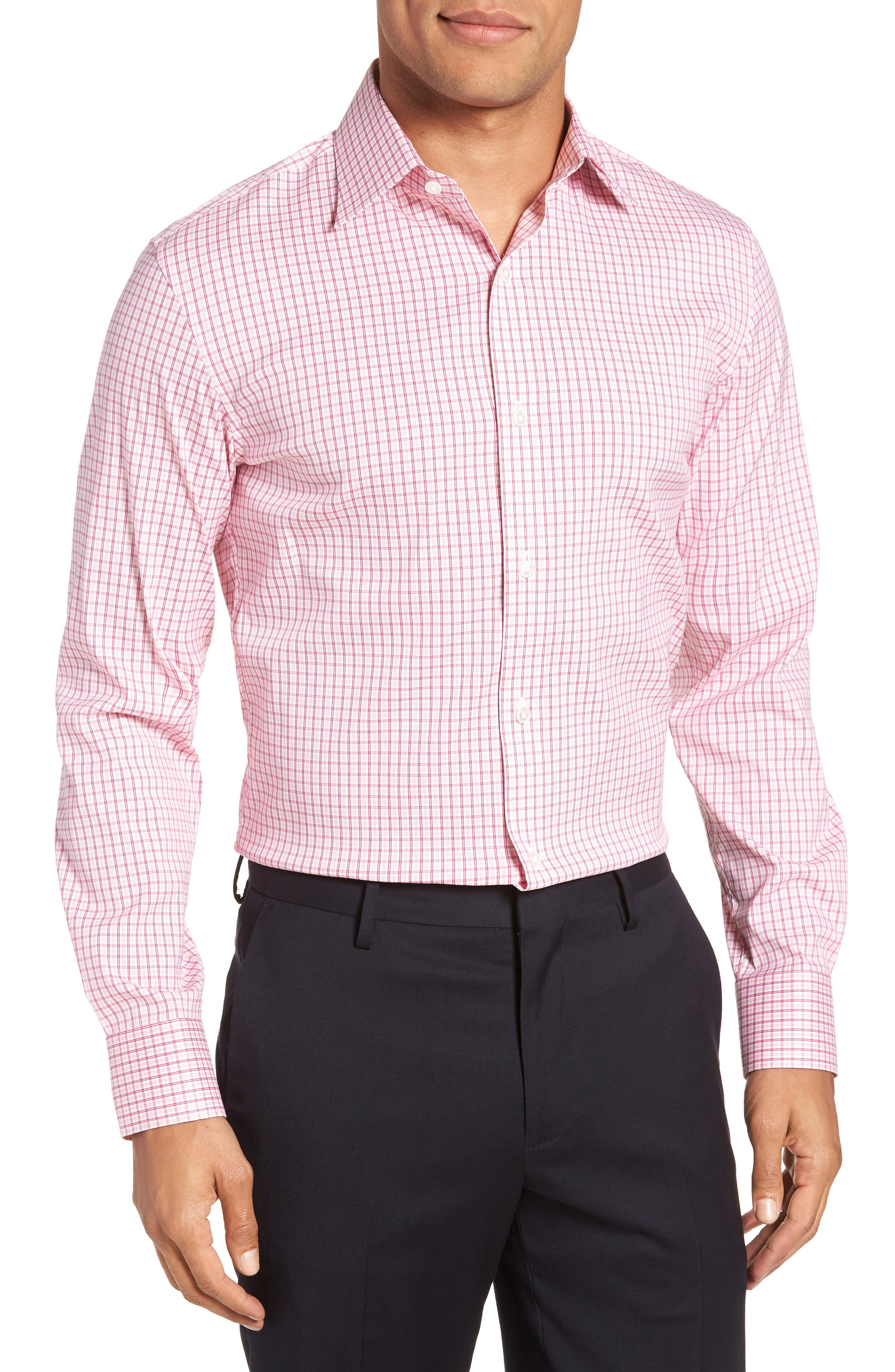 Jetsetter Slim Fit Stretch Check Dress Shirt,                             Main thumbnail 1, color,                             Pink Peacock