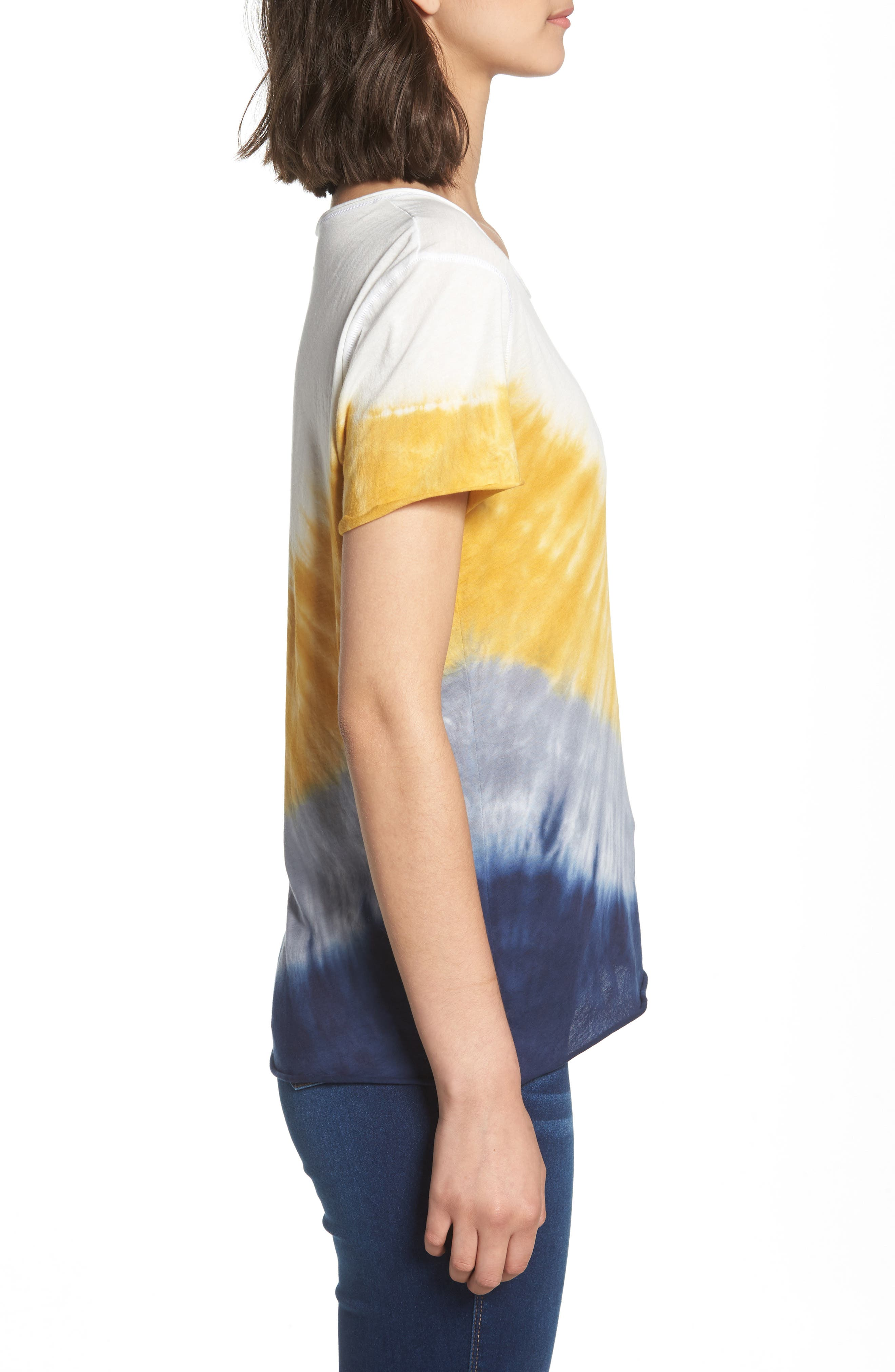 Tie Dye Tee,                             Alternate thumbnail 3, color,                             Ivory/ Yellow/ Blue A/ S