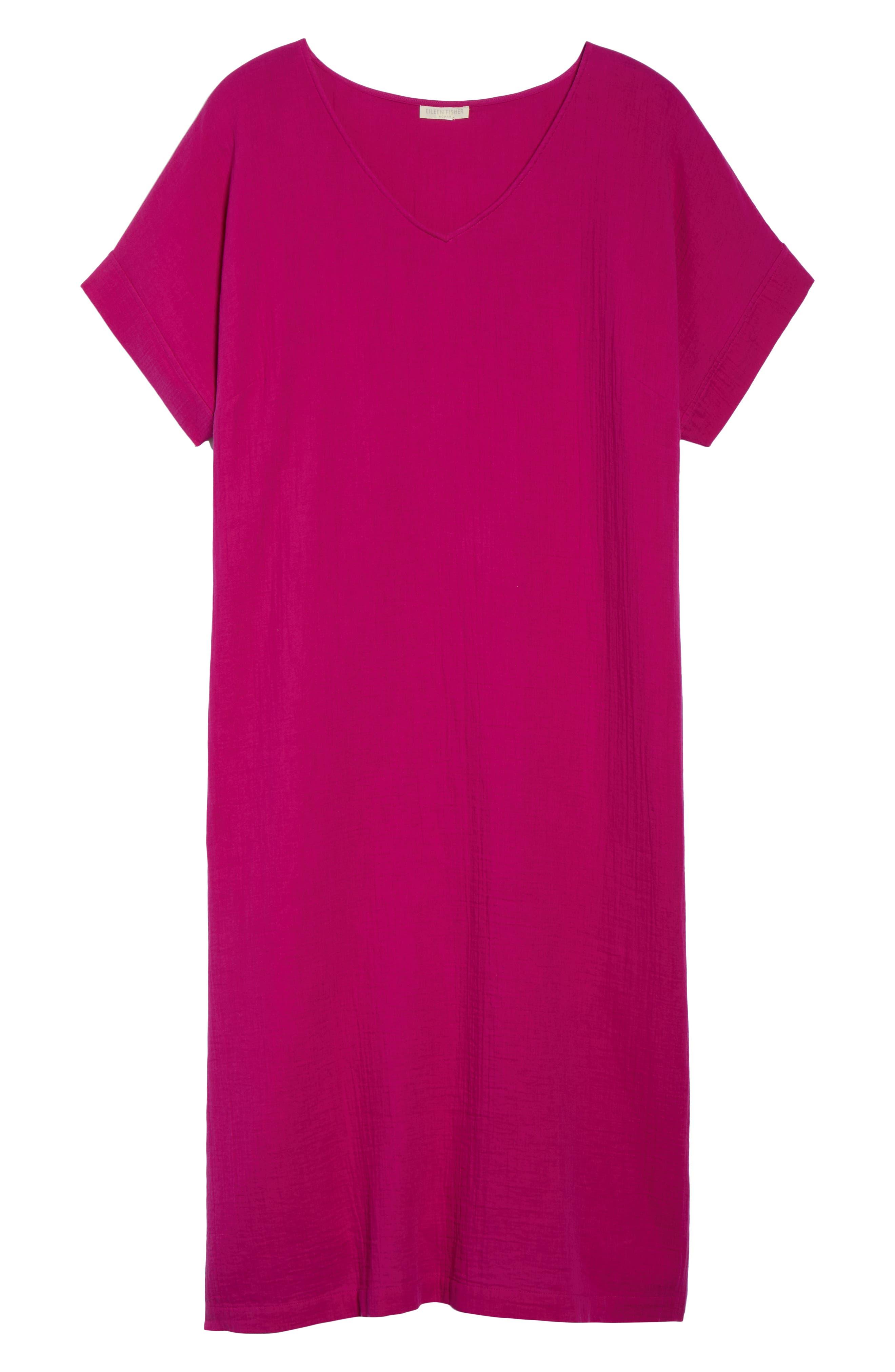 V-Neck Cotton Midi Dress,                             Alternate thumbnail 7, color,                             Cerise