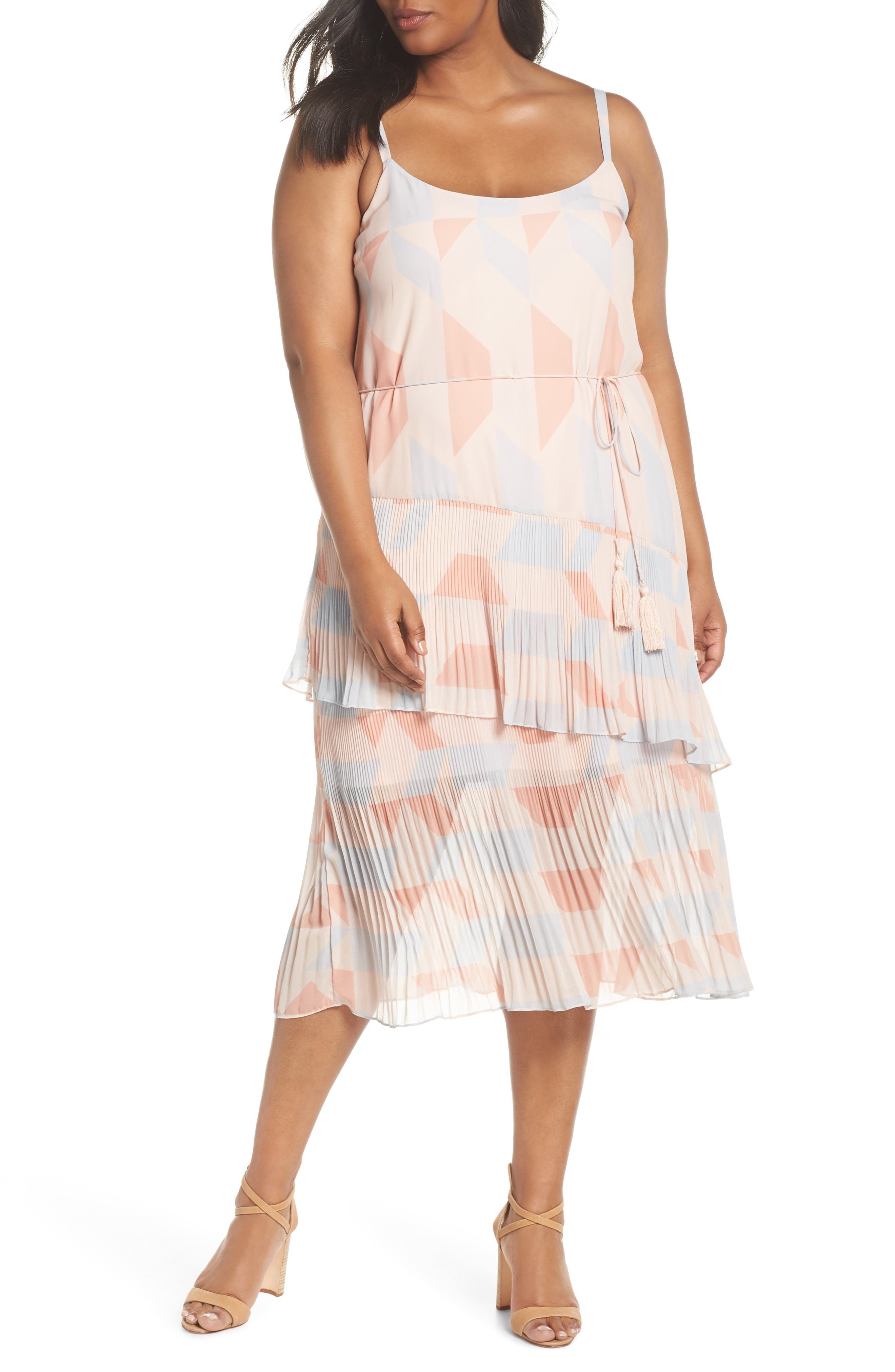 Goldie Tassel Pleated Chiffon Midi Dress,                         Main,                         color, Print