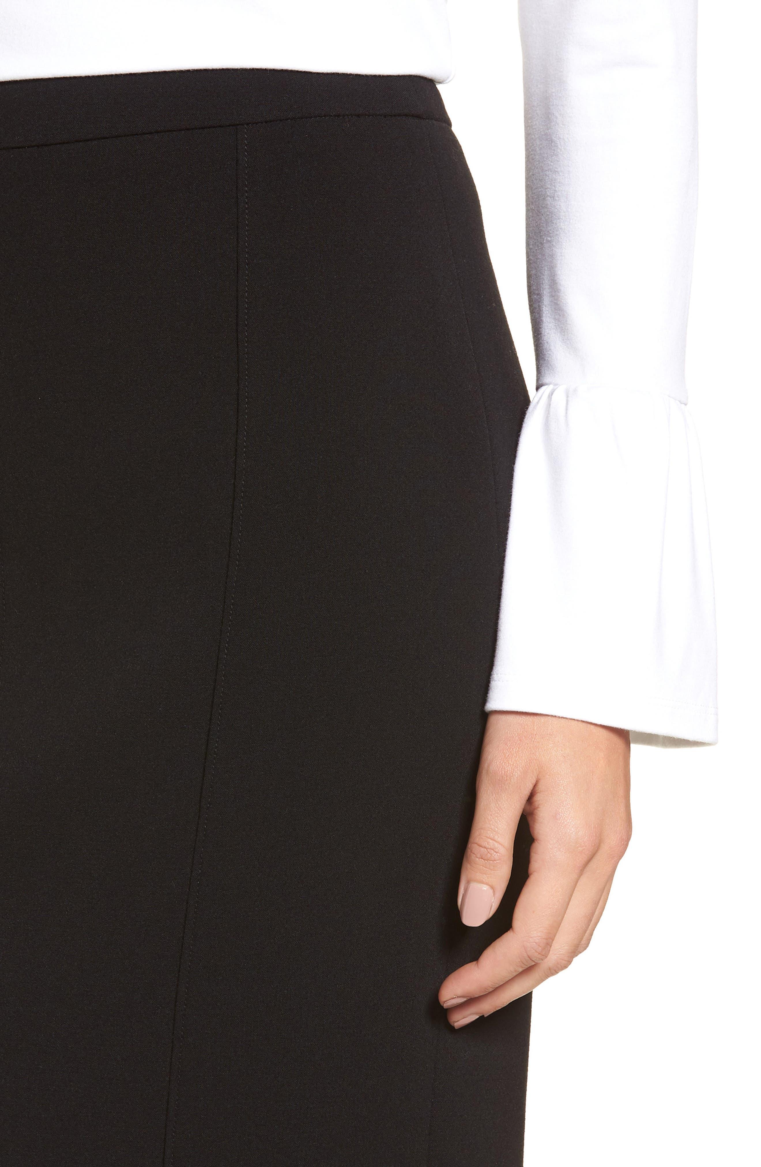 Seamed Pencil Skirt,                             Alternate thumbnail 4, color,                             Black