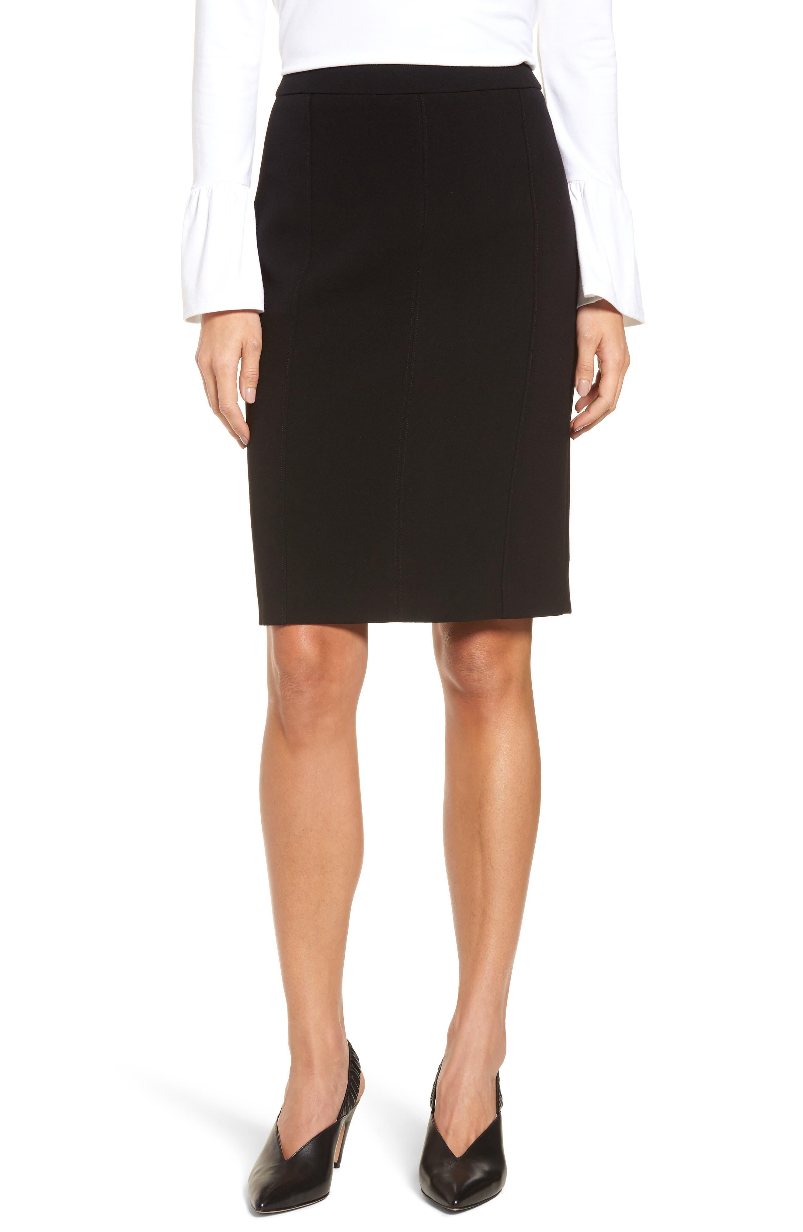 Seamed Pencil Skirt,                             Main thumbnail 1, color,                             Black
