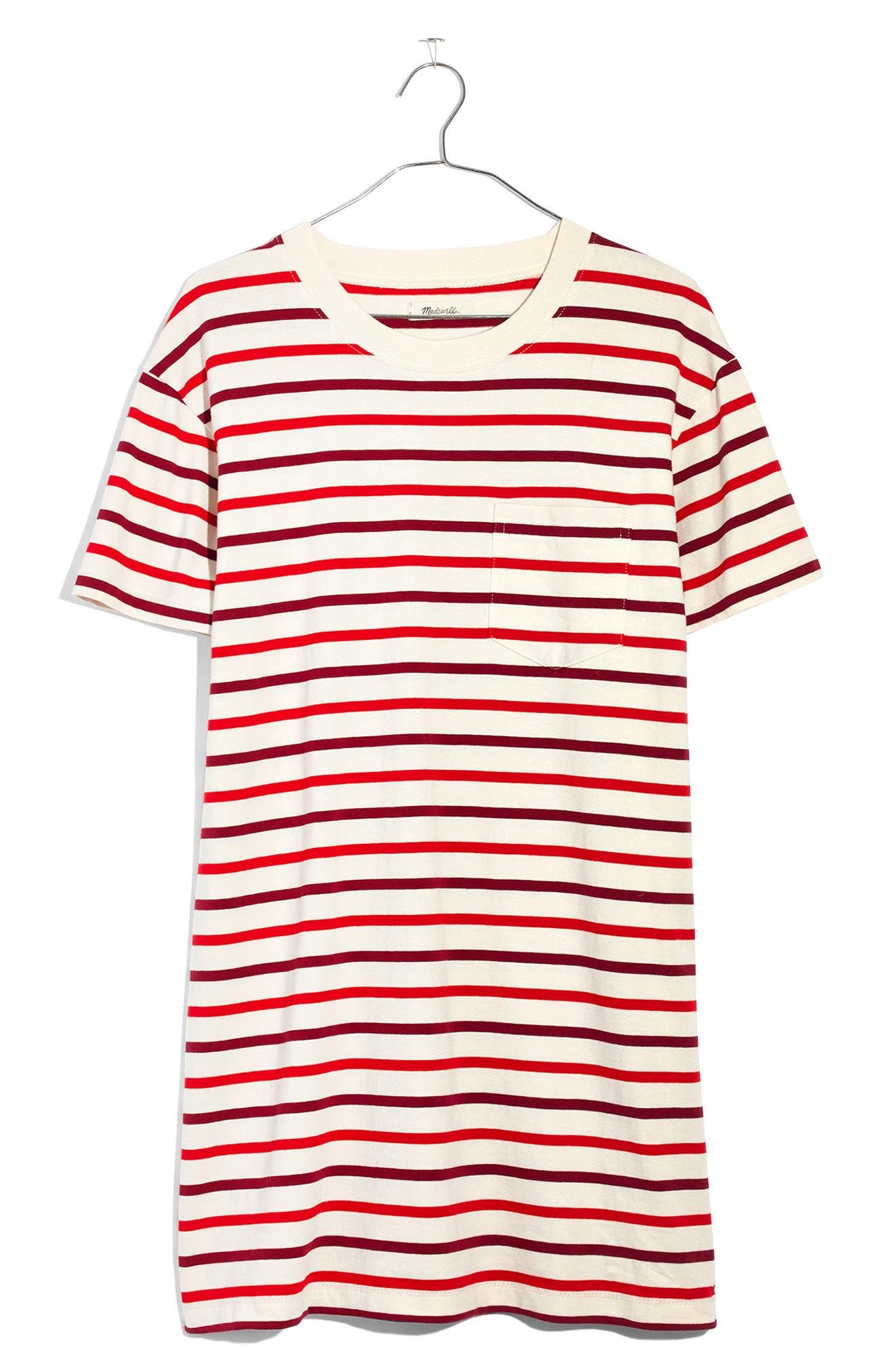 Stripe Pocket T-Shirt Dress,                             Alternate thumbnail 4, color,                             Ripe Persimmon