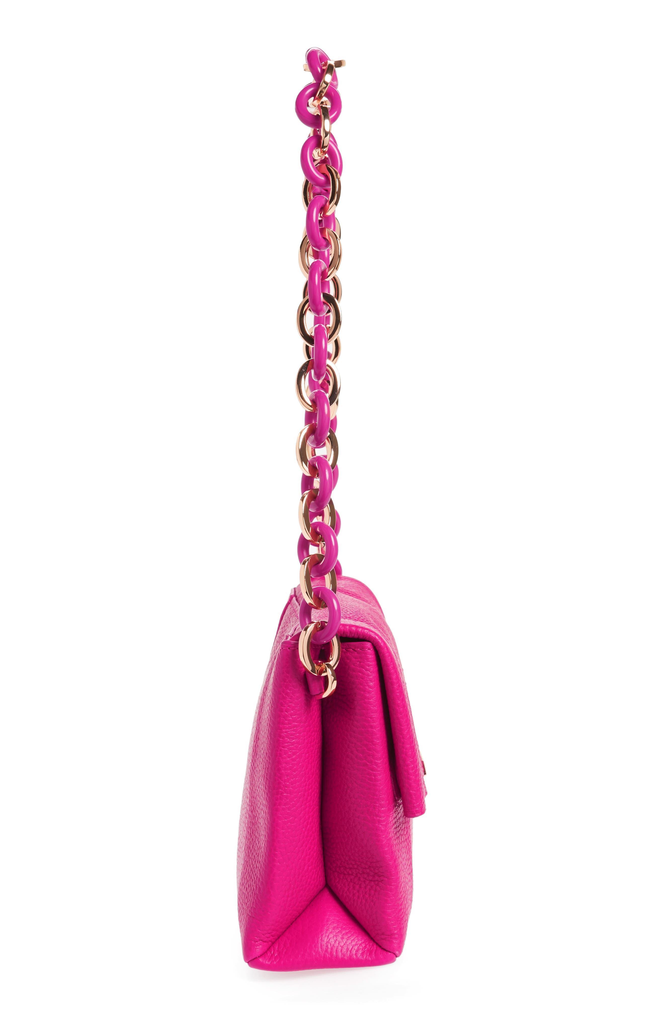 Ipomoea Leather Shoulder Bag,                             Alternate thumbnail 5, color,                             Fuchsia