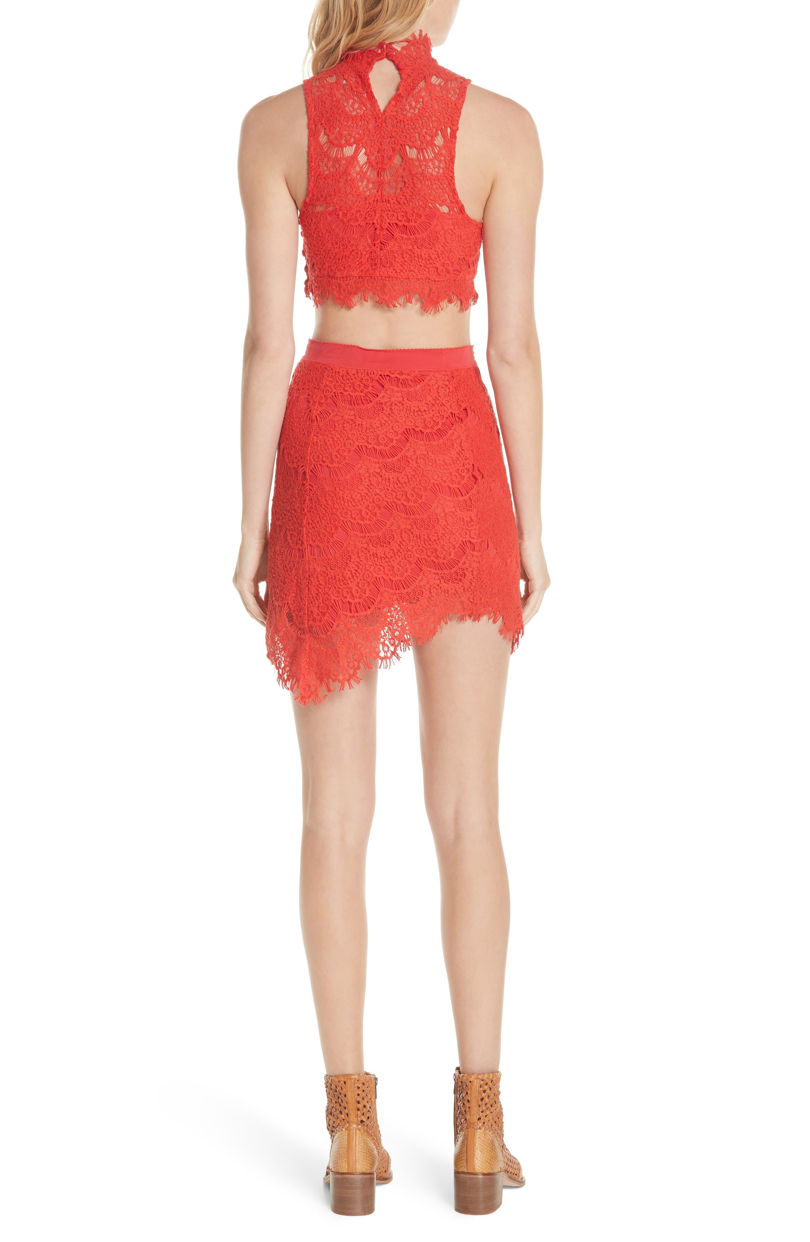 Sabina Crop Top & Skirt,                             Alternate thumbnail 2, color,                             Red
