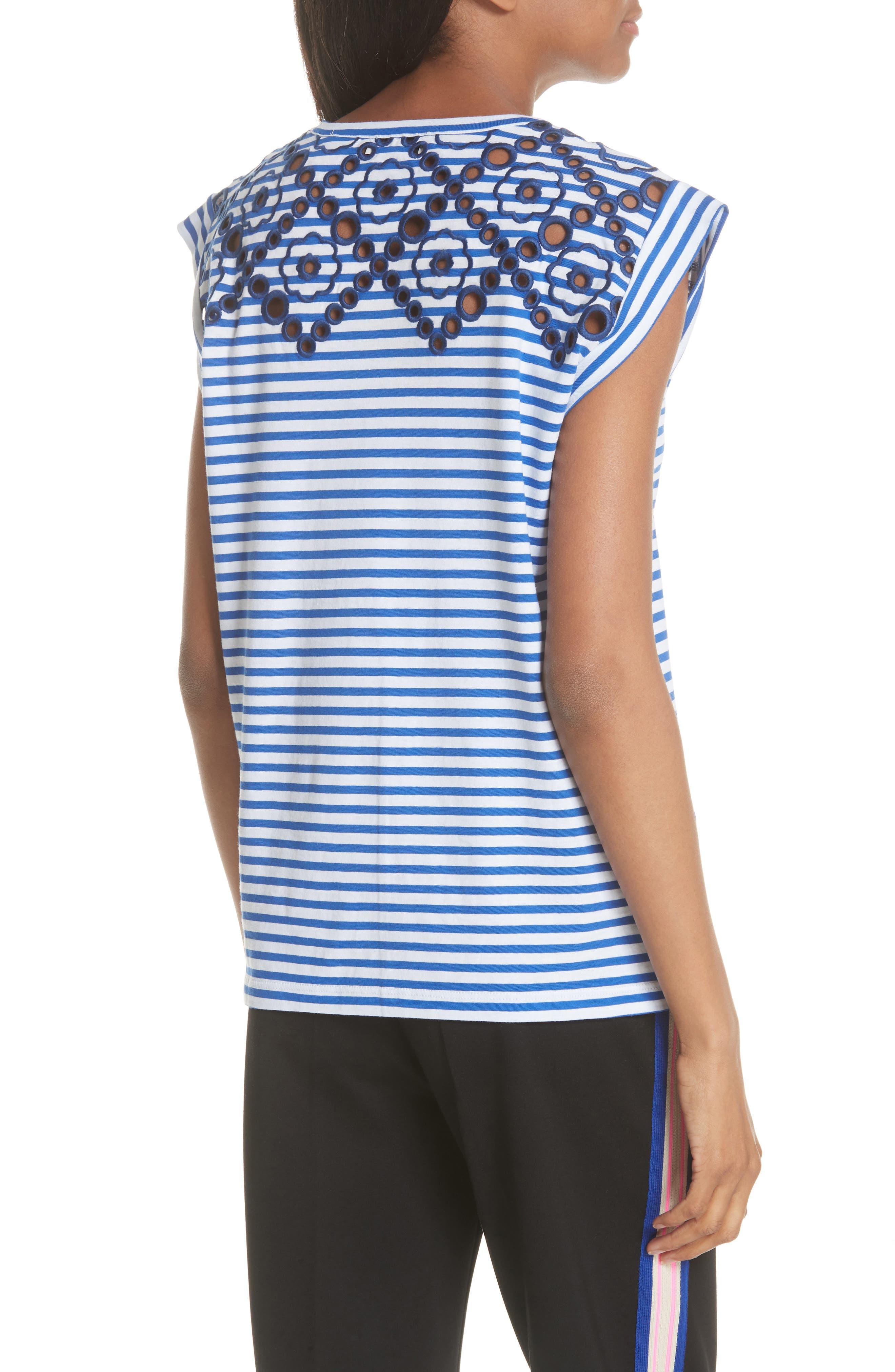 Stripe Embroidered Stencil Cotton Top,                             Alternate thumbnail 2, color,                             Bleu Nuit