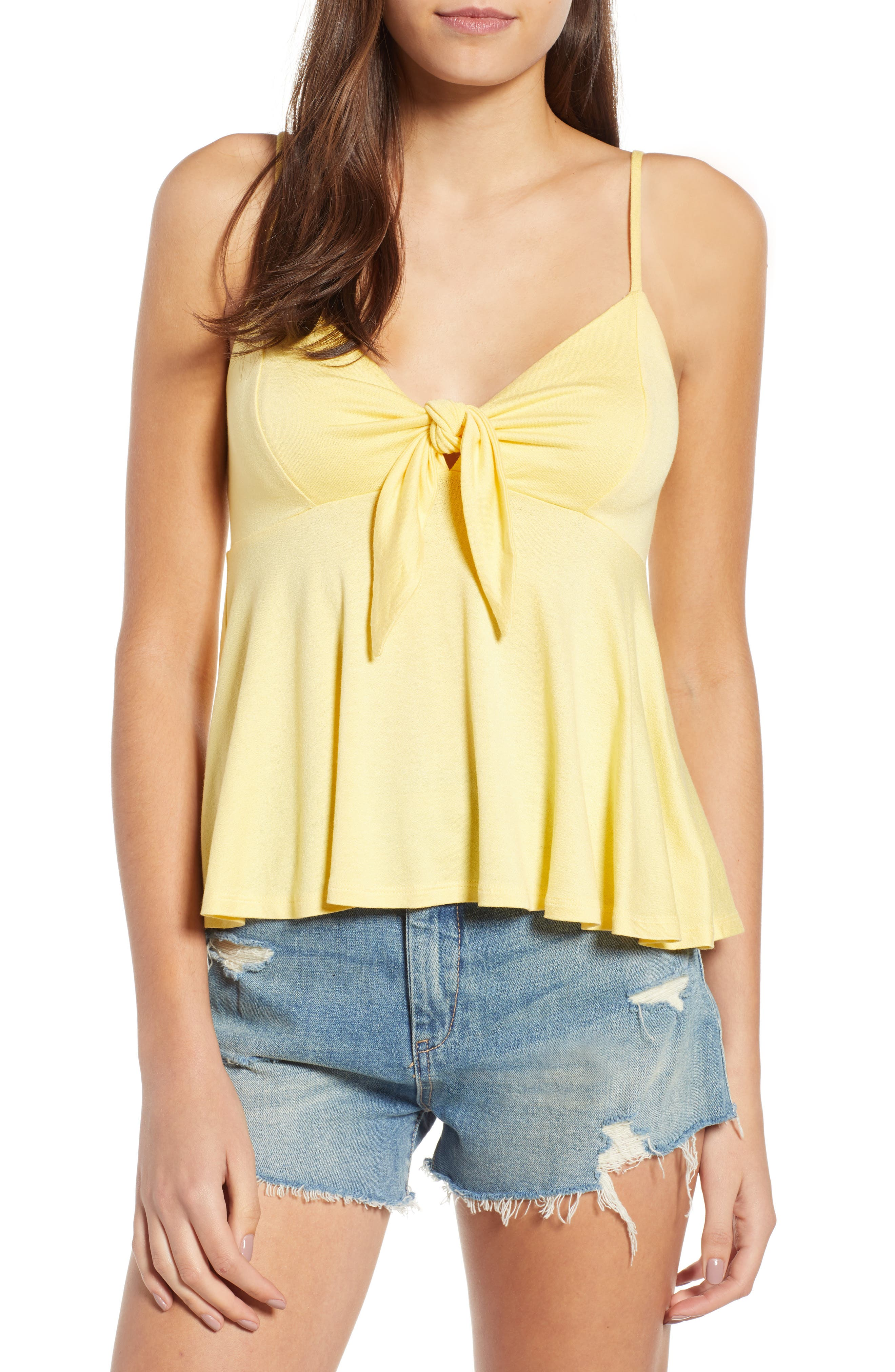 Knot Front Camisole,                         Main,                         color, Yellow