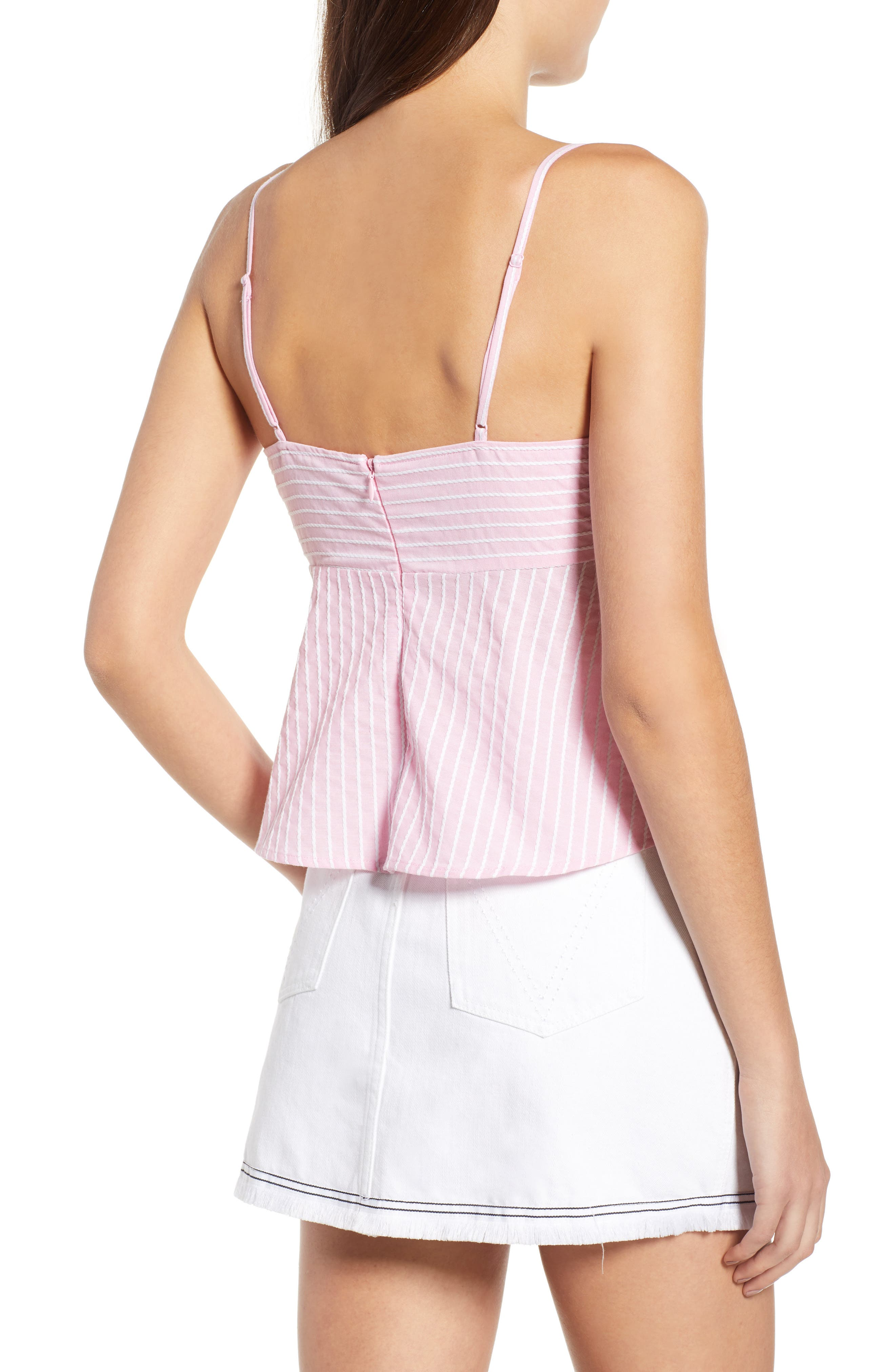 Parcel Stripe Tie Front Tank,                             Alternate thumbnail 6, color,                             Blossom With White