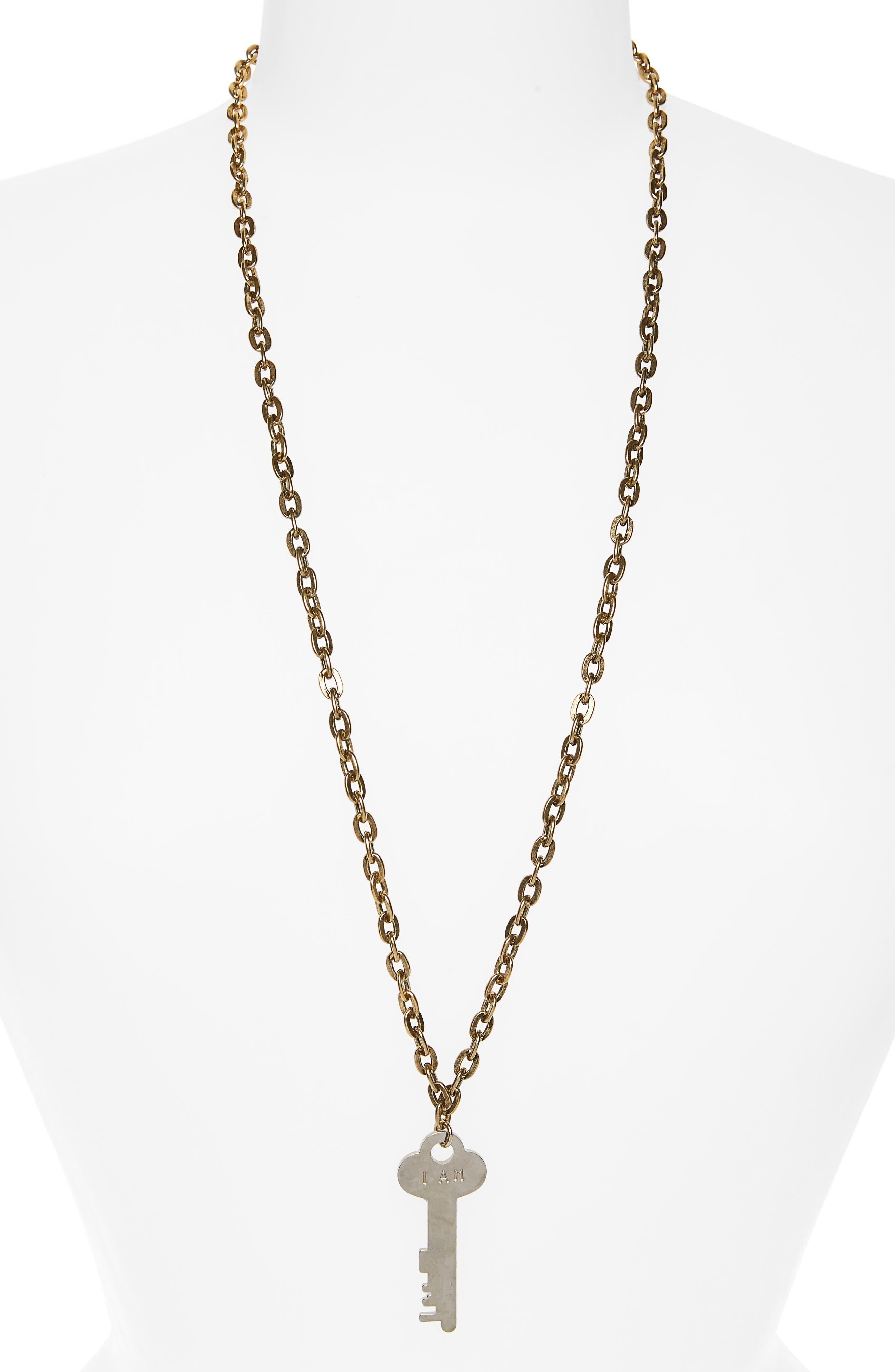 I Am Creative Key Charm Necklace,                         Main,                         color, Gold/ Silver Key