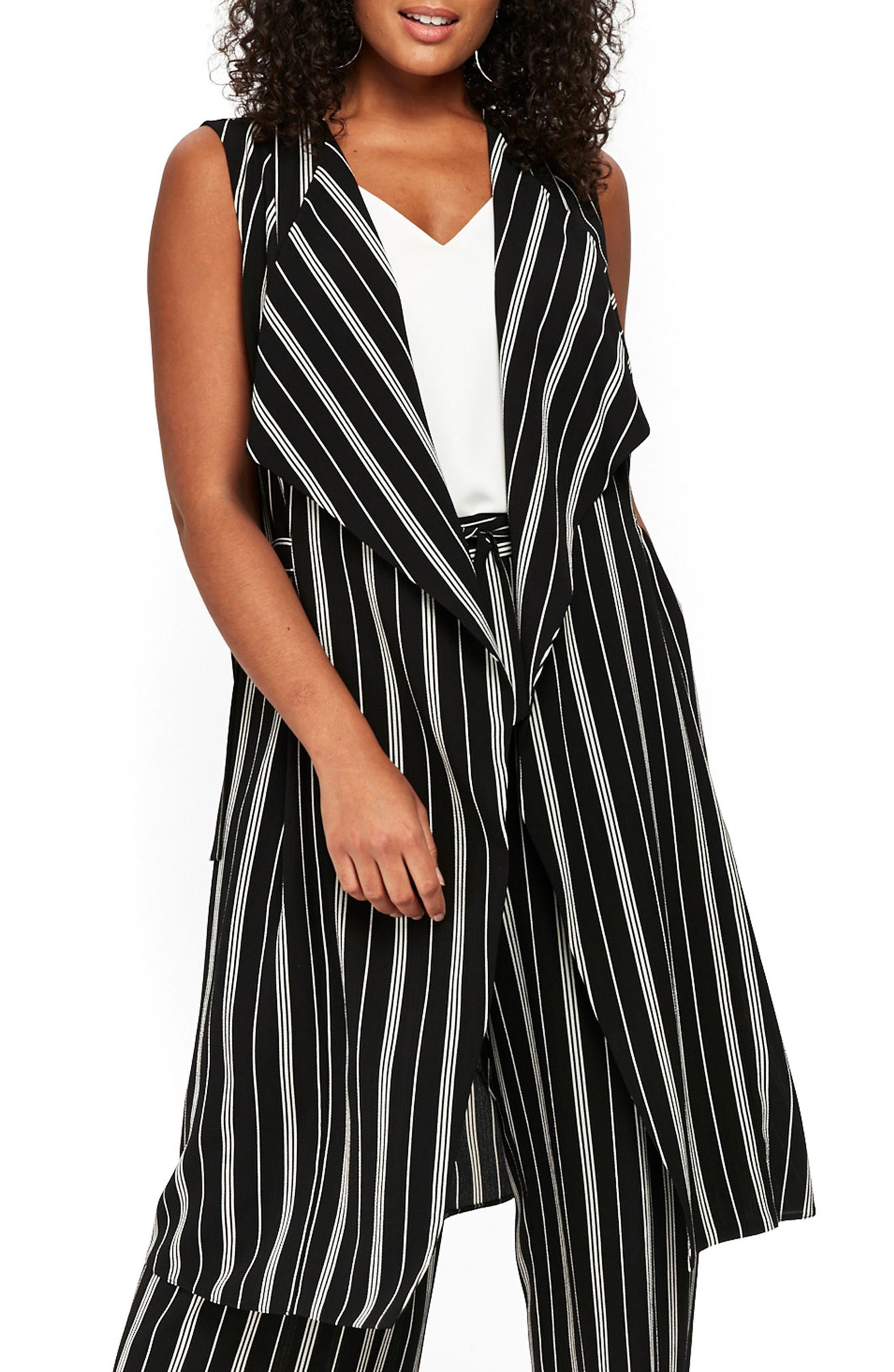Stripe Sleeveless Jacket,                             Main thumbnail 1, color,                             Black/ White