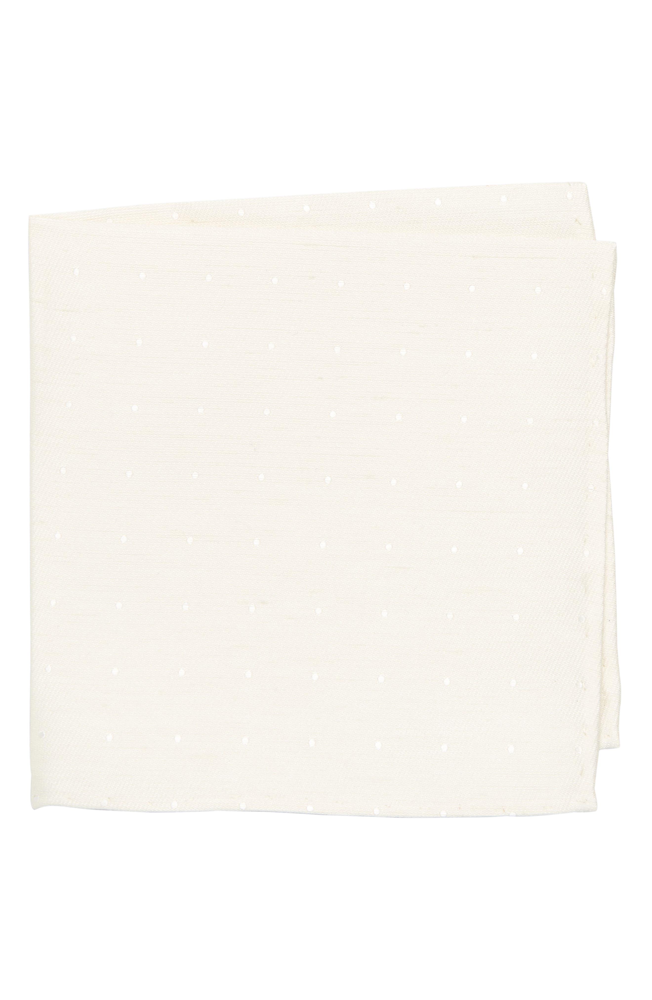 Bulletin Dot Silk & Linen Pocket Square,                             Main thumbnail 1, color,                             Ivory