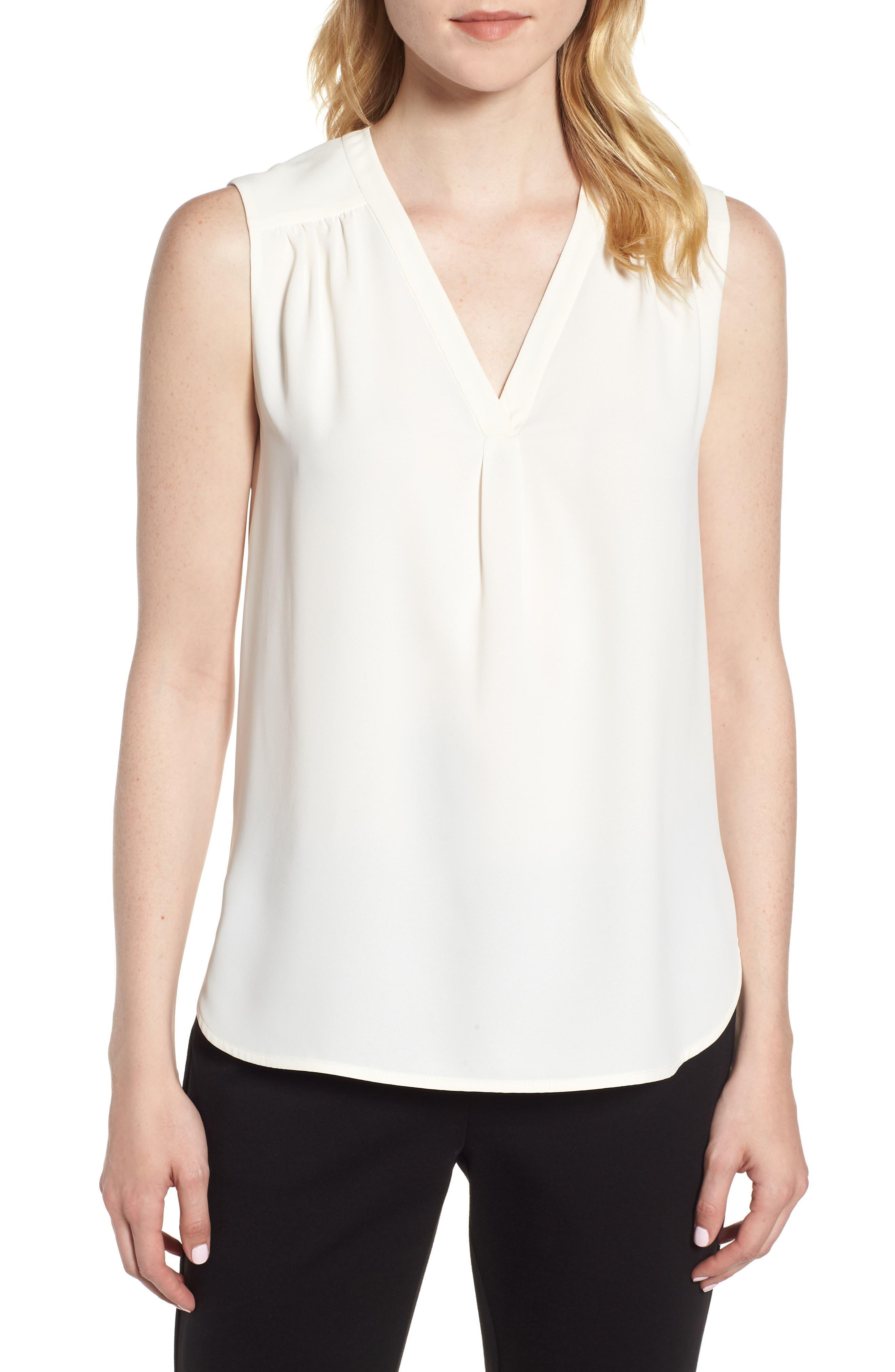 Sleeveless Split Neck Crepe Top,                         Main,                         color, White