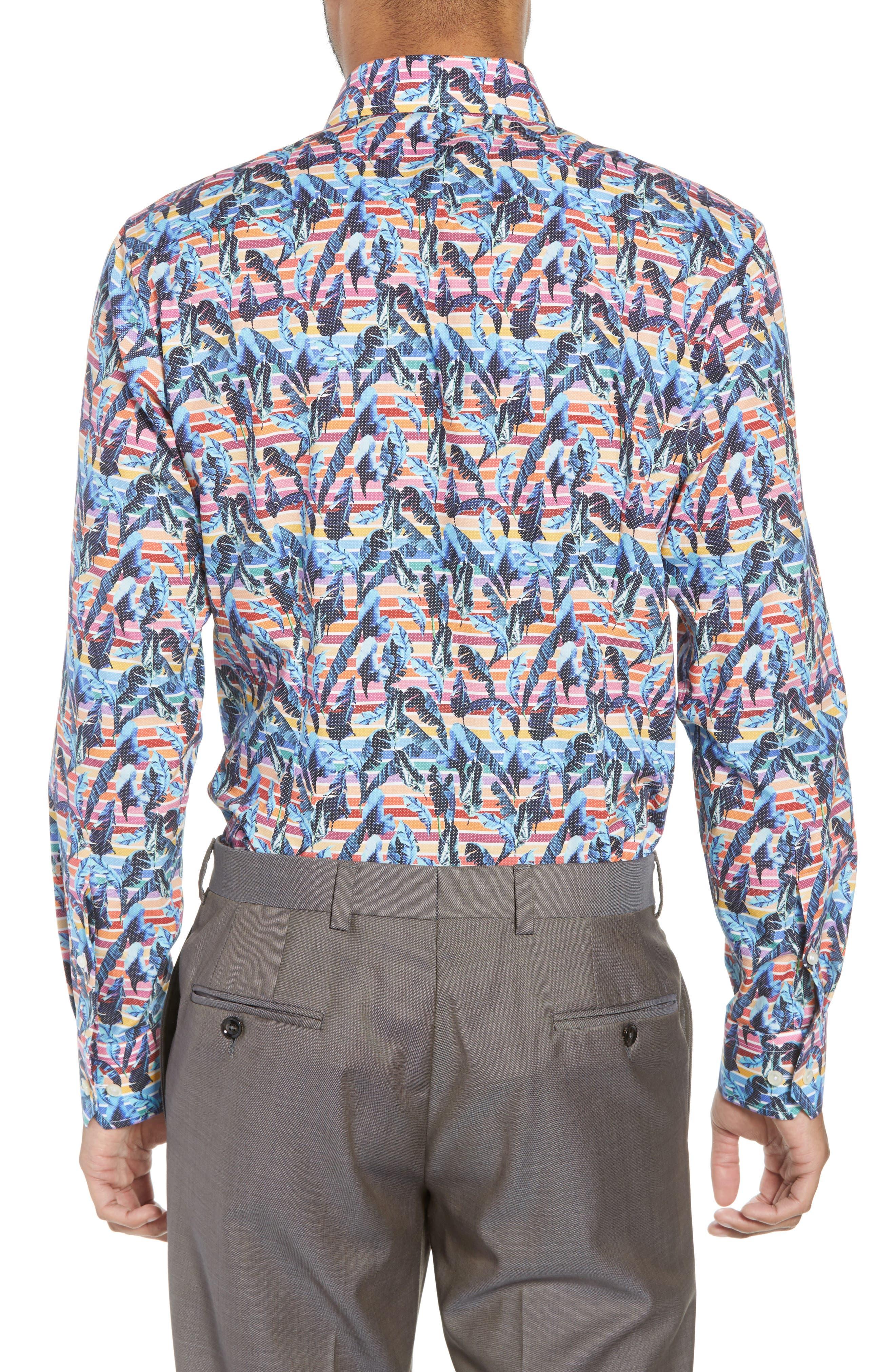 Slim Fit Print Dress Shirt,                             Alternate thumbnail 3, color,                             Red/ Blue