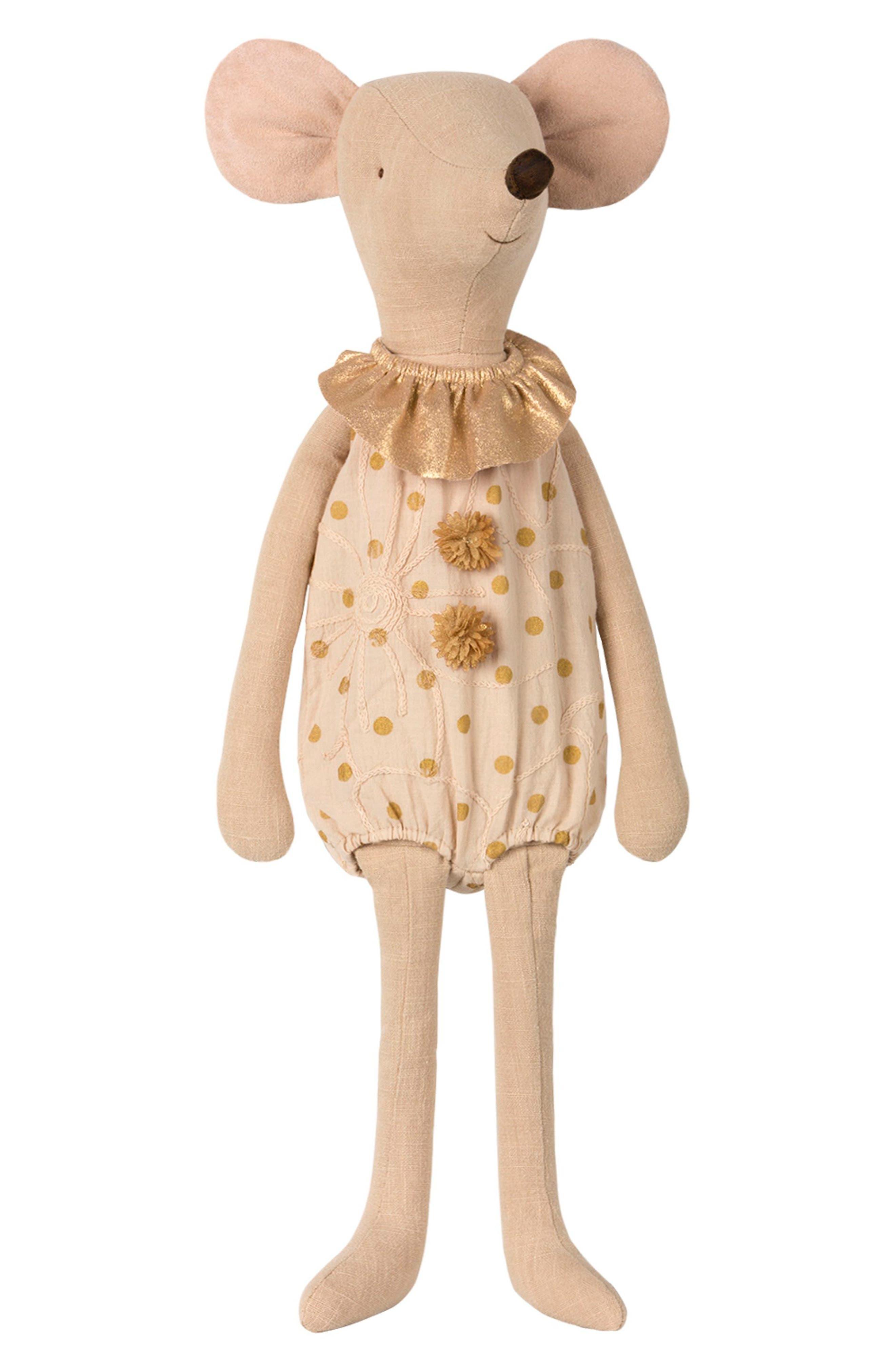 Maxi Circus Girl Mouse Stuffed Animal,                         Main,                         color, Creme With Polka-Dot Gold