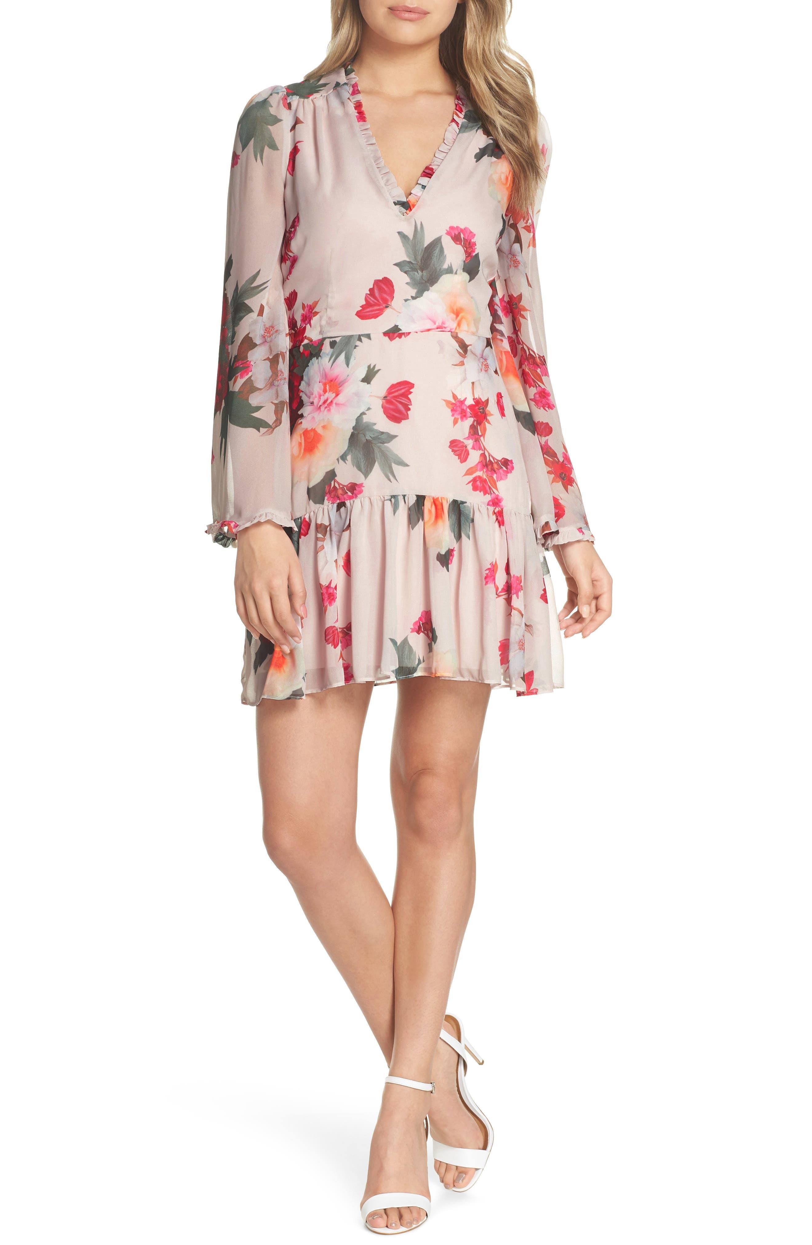 Rosa Floral Chiffon Dress,                             Main thumbnail 1, color,                             Print