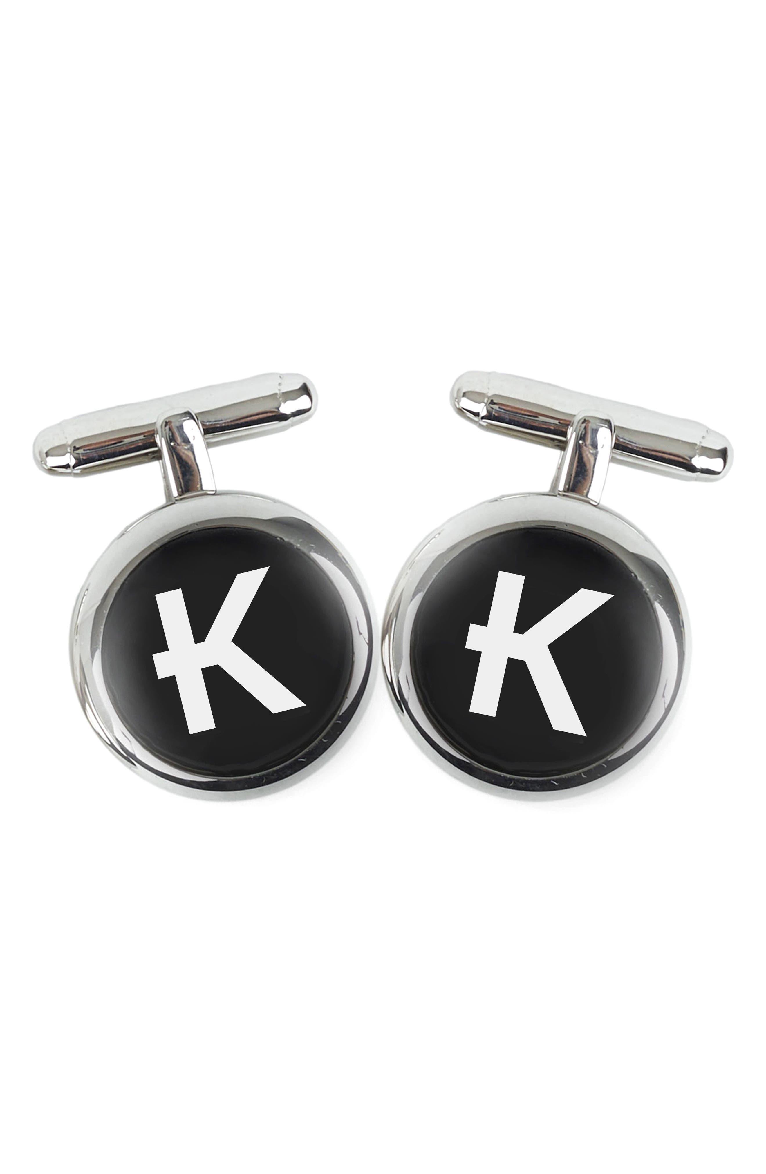 Brooklyn Silver Initial Cuff Links,                         Main,                         color, K