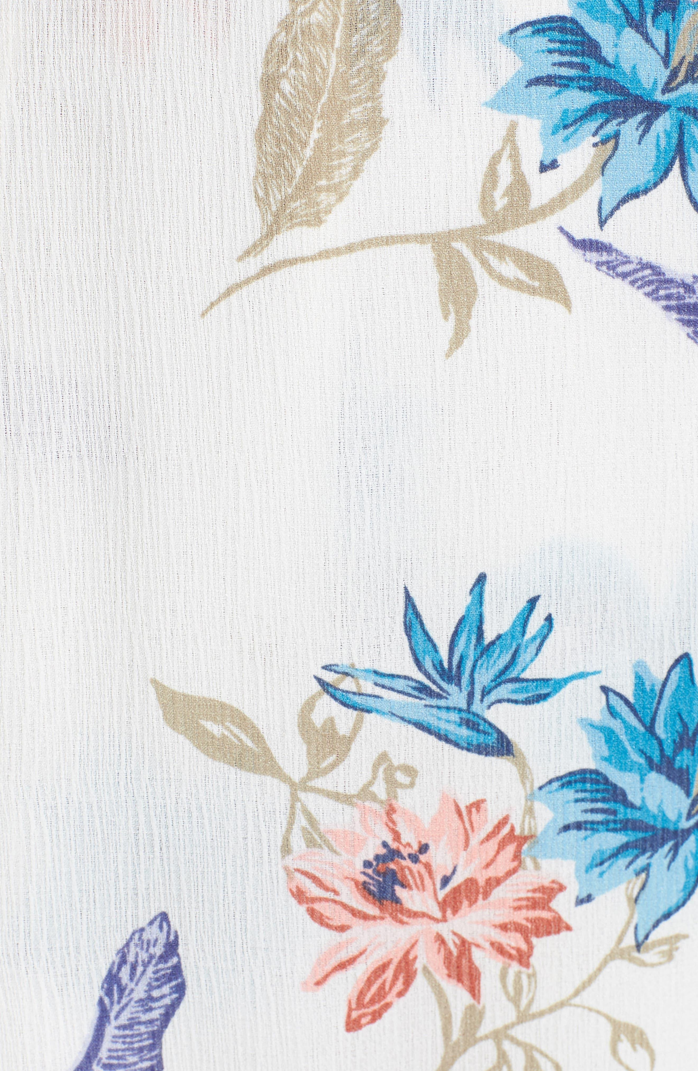 Floral Maxi Dress,                             Alternate thumbnail 5, color,                             White