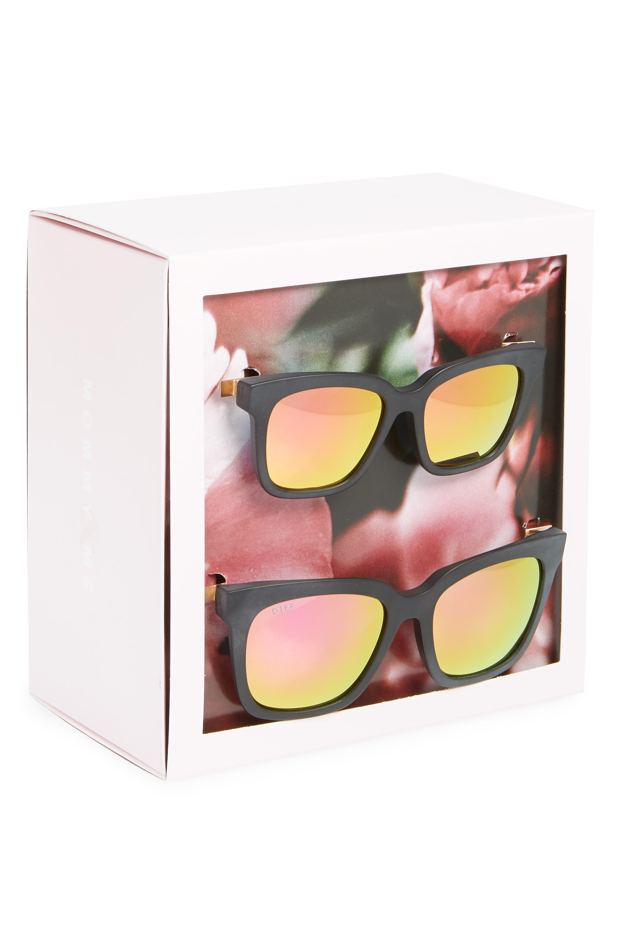 Mommy & Me Bella 2-Pack Square Sunglasses,                             Alternate thumbnail 3, color,                             Black/ Pink