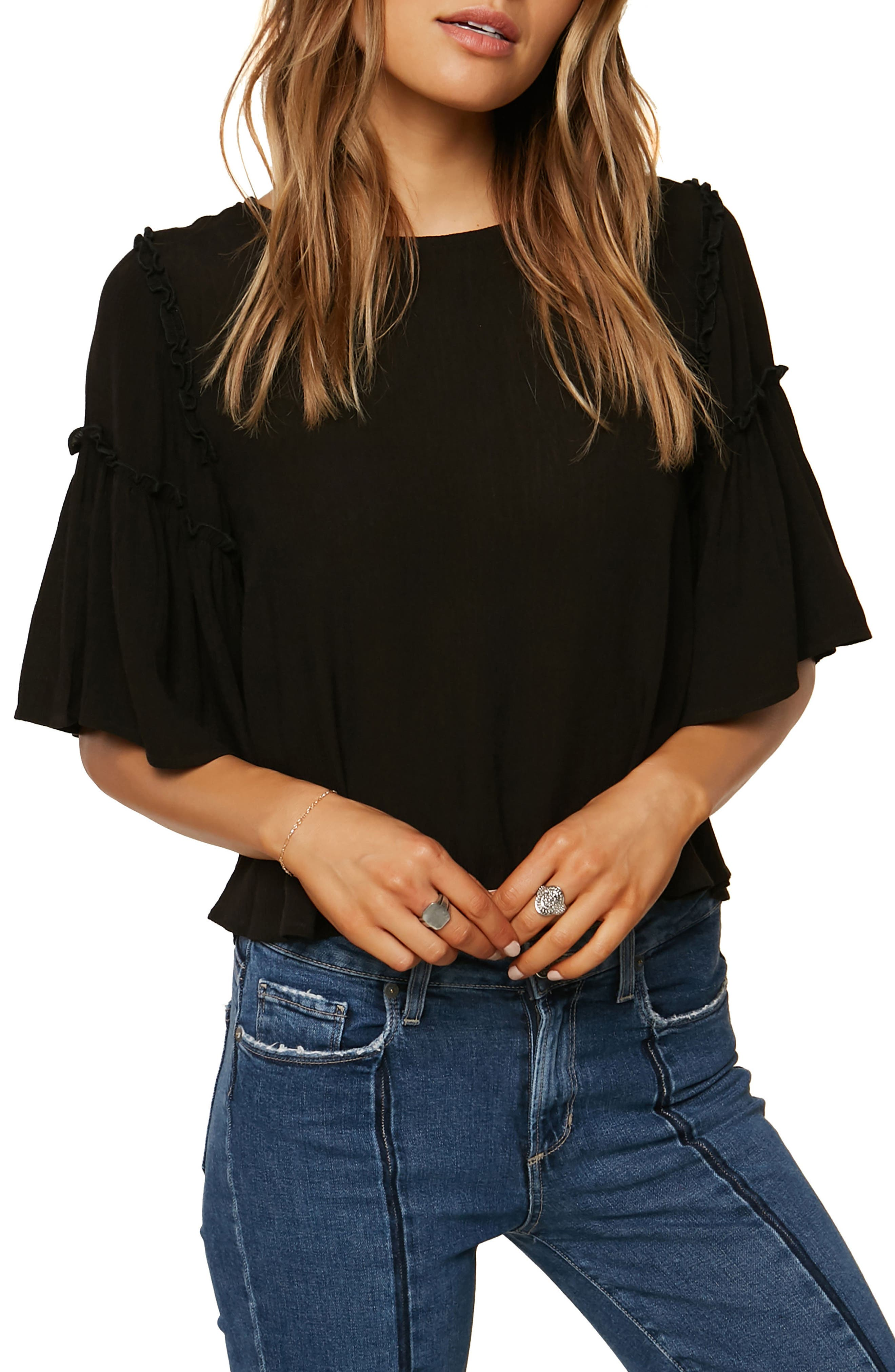 Brea Bell Sleeve Top,                             Main thumbnail 1, color,                             Black