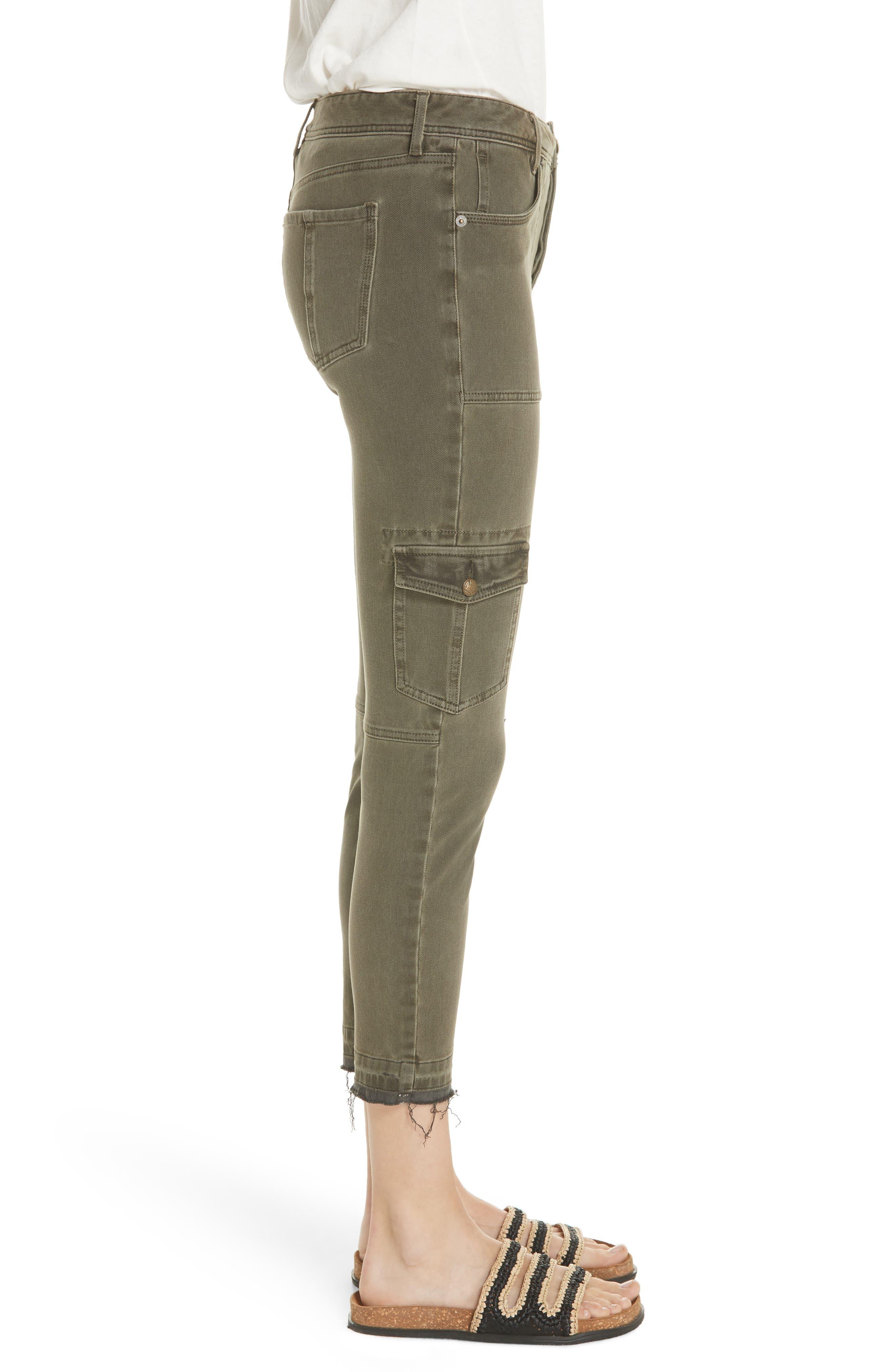 Utility Skinny Jeans,                             Alternate thumbnail 3, color,                             Moss