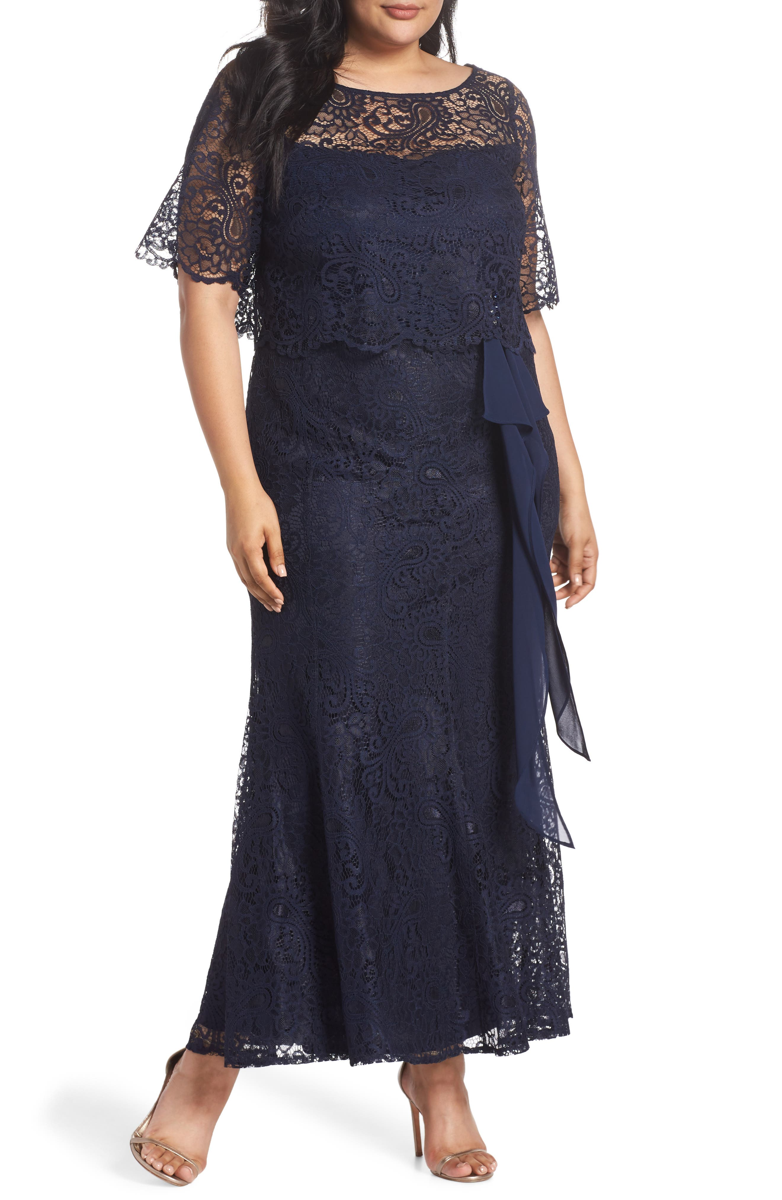 Mock Two-Piece Lace Gown,                         Main,                         color, Navy