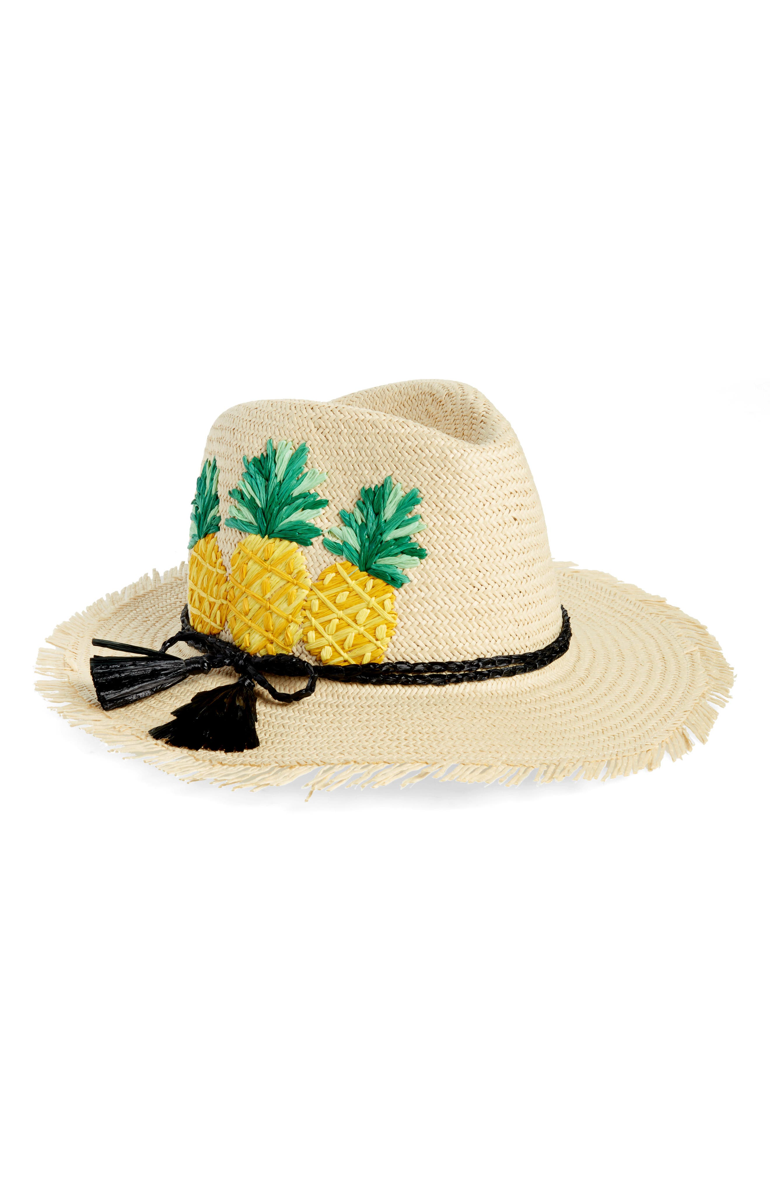 pineapple woven trilby,                         Main,                         color, Natural